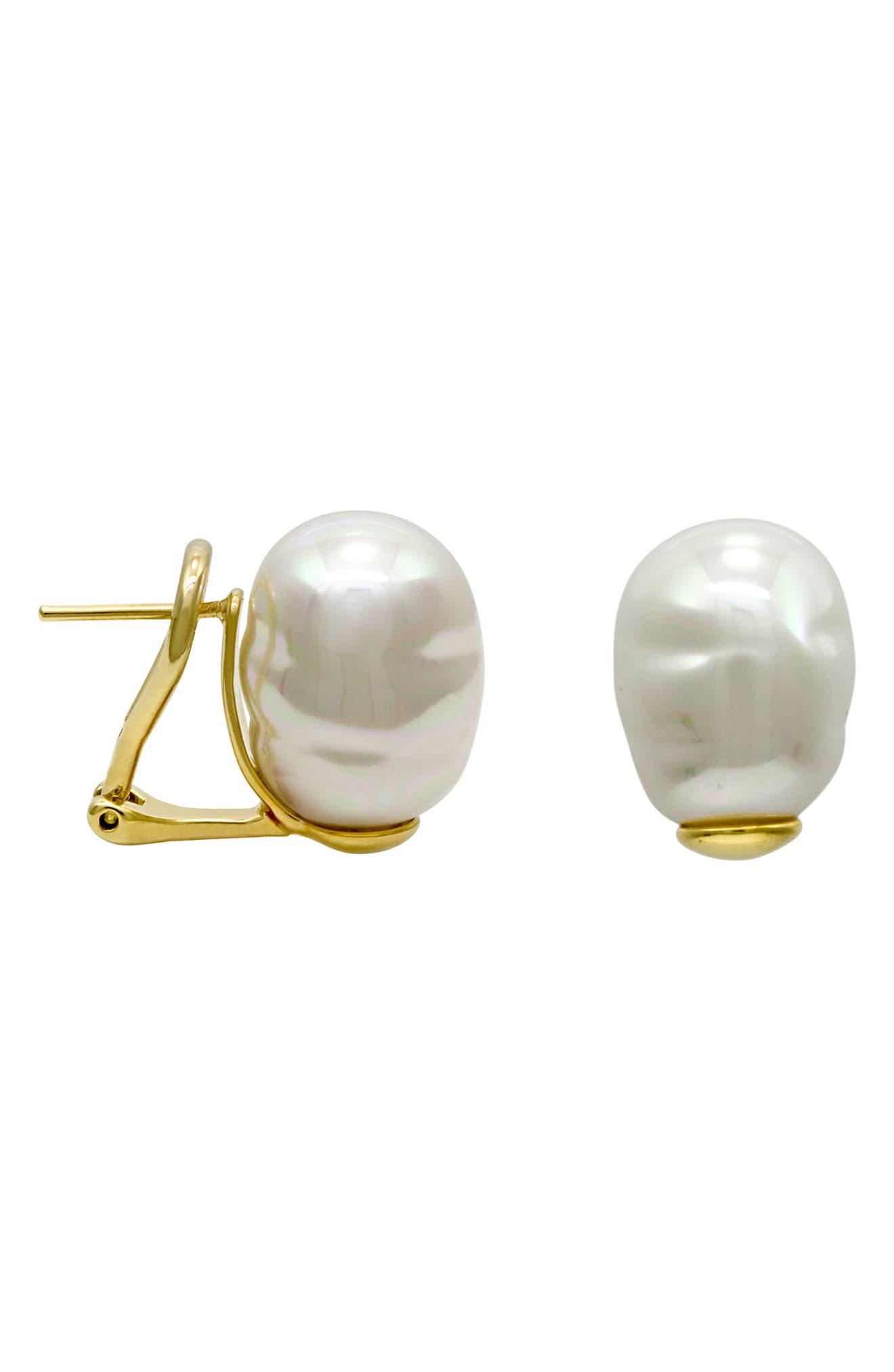 MAJORICA, Baroque Stud Earrings, Main thumbnail 1, color, WHITE