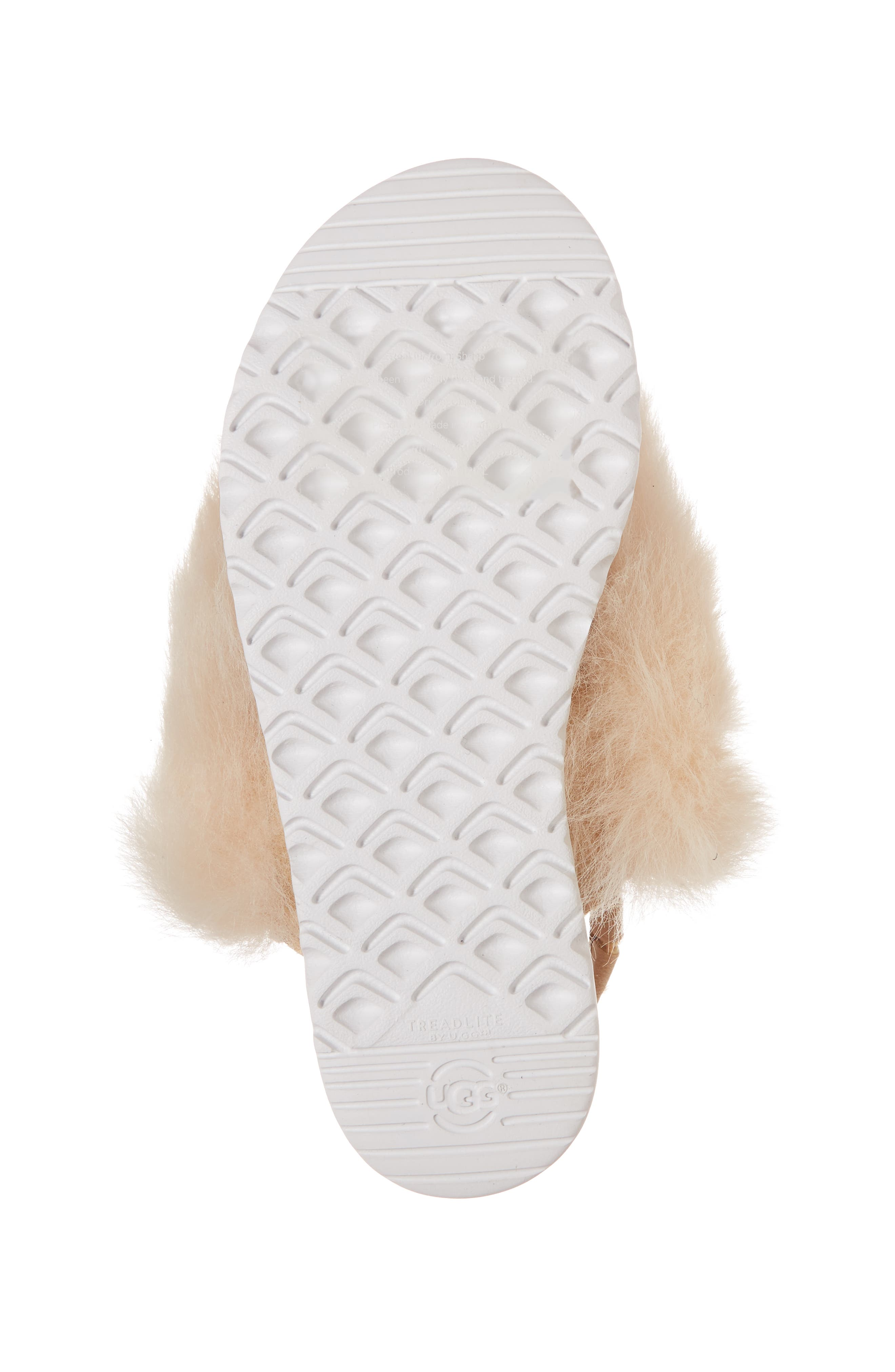UGG<SUP>®</SUP>, Holly Genuine Shearling Sandal, Alternate thumbnail 6, color, SOFT OCHRE