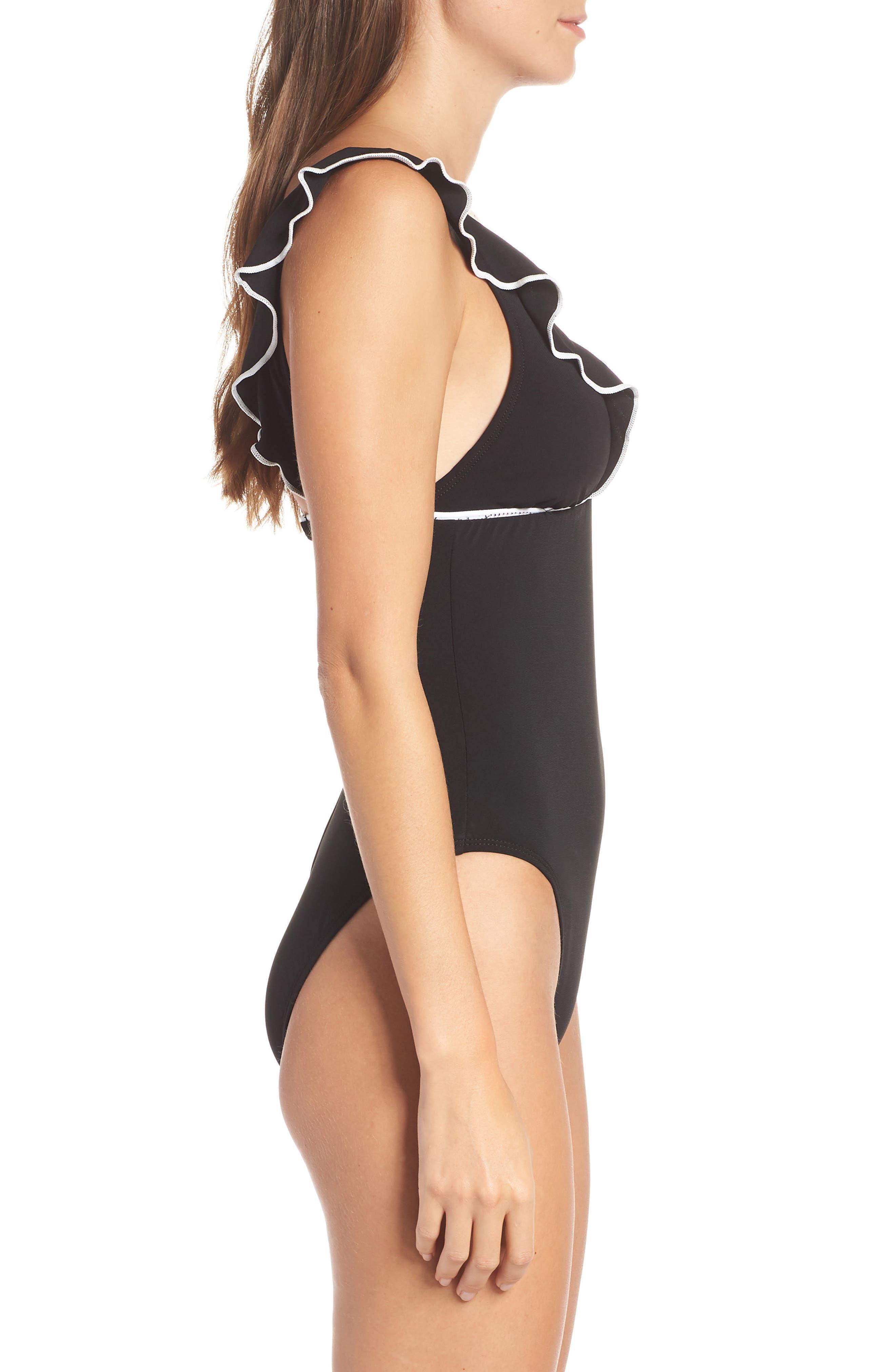 ROBIN PICCONE, Malia Ruffle One-Piece Swimsuit, Alternate thumbnail 3, color, BLACK/ WHITE