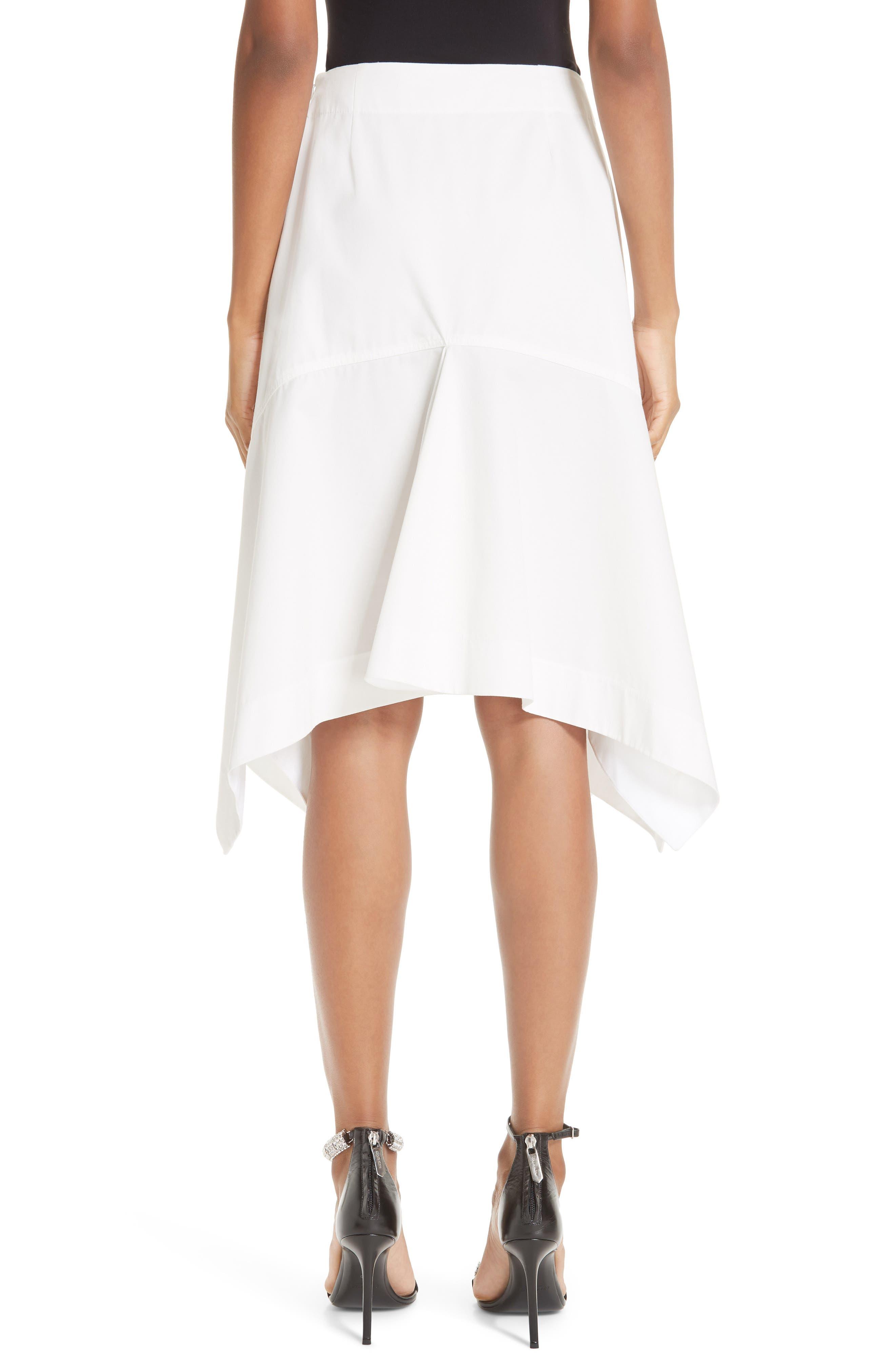 CALVIN KLEIN 205W39NYC, Sharkbite Hem Cotton Gabardine Skirt, Alternate thumbnail 2, color, WHITE