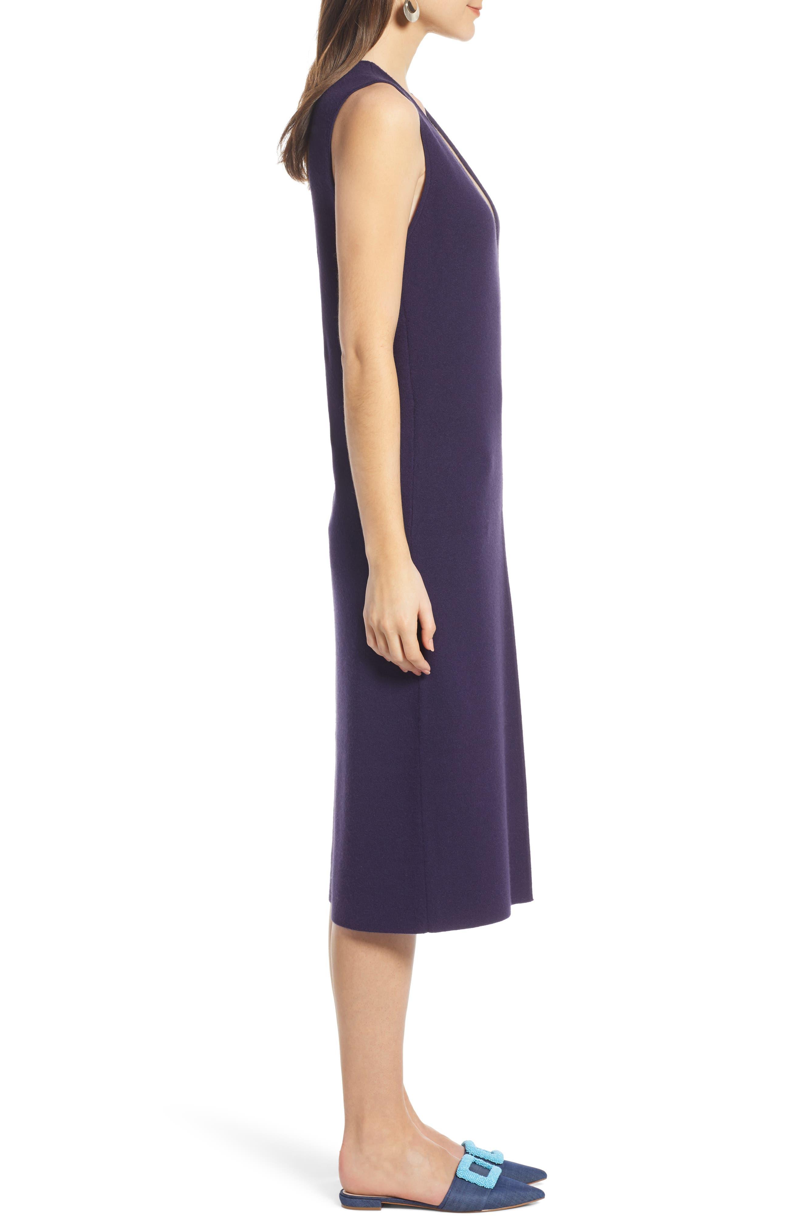 SOMETHING NAVY, Sleeveless Sweater Dress, Alternate thumbnail 4, color, 401
