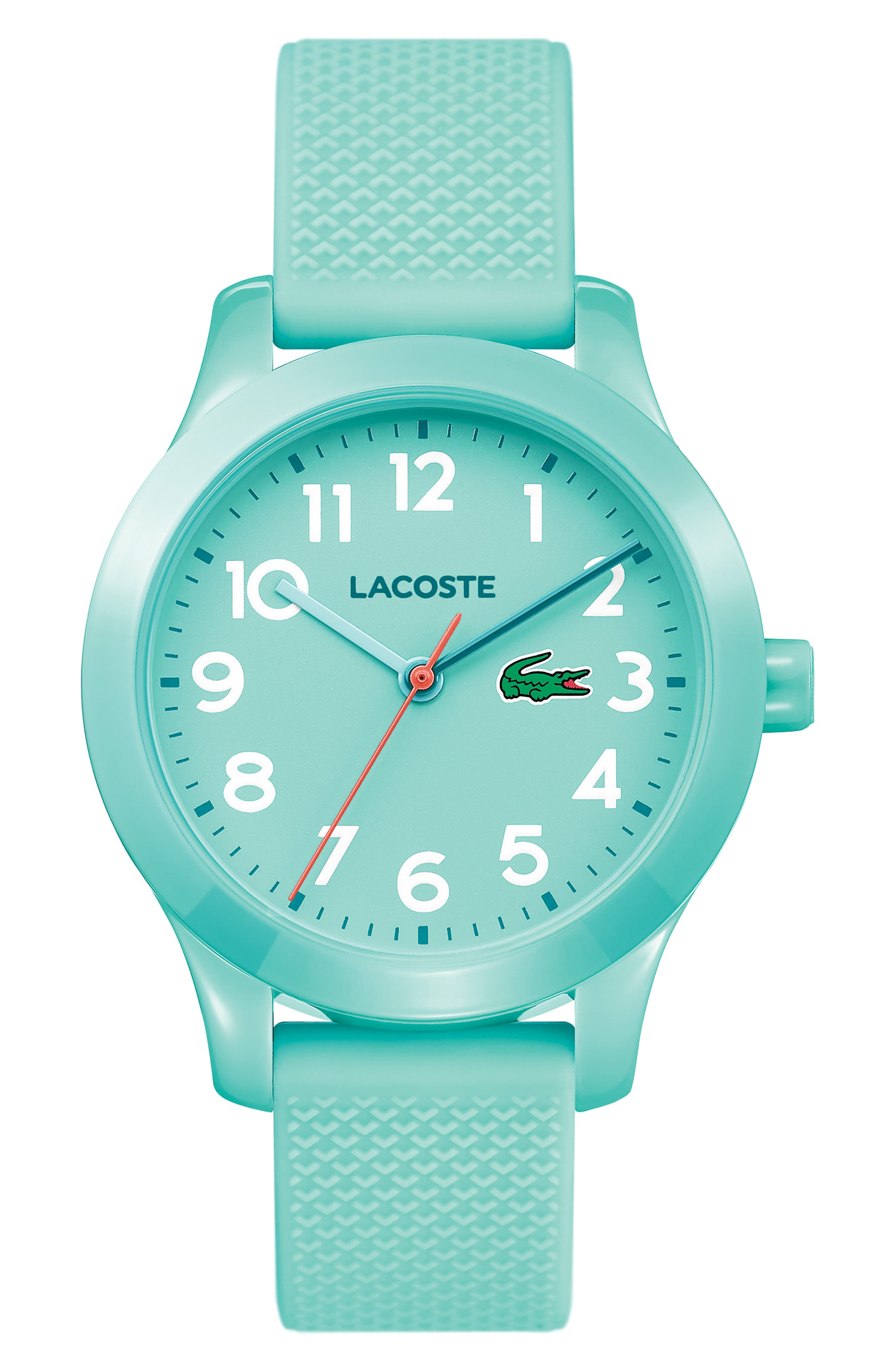 LACOSTE Kids 12.12 Silicone Strap Watch, 32mm, Main, color, TURQUOISE