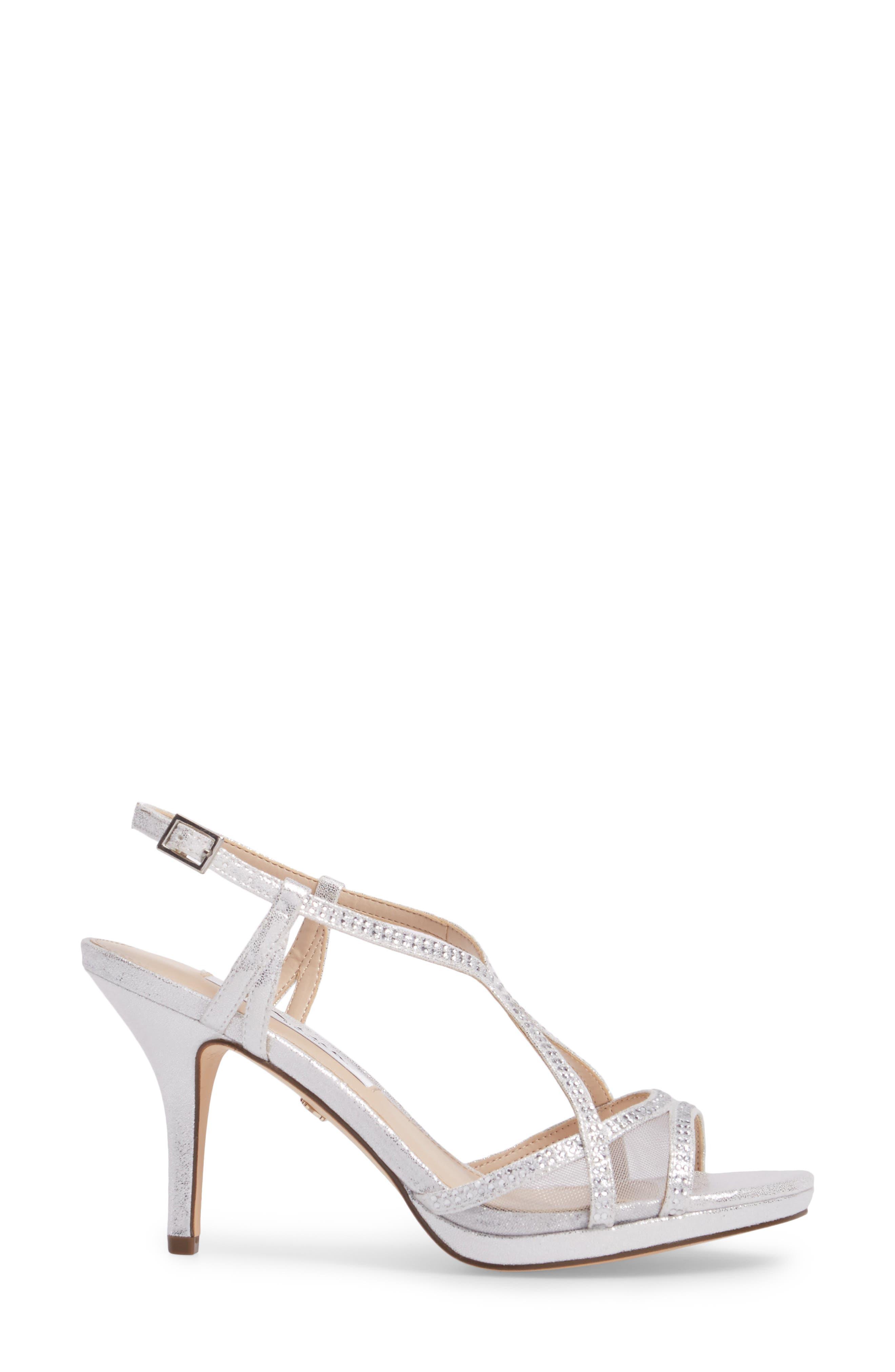 NINA, Blossom Crystal Embellished Sandal, Alternate thumbnail 3, color, SILVER FABRIC