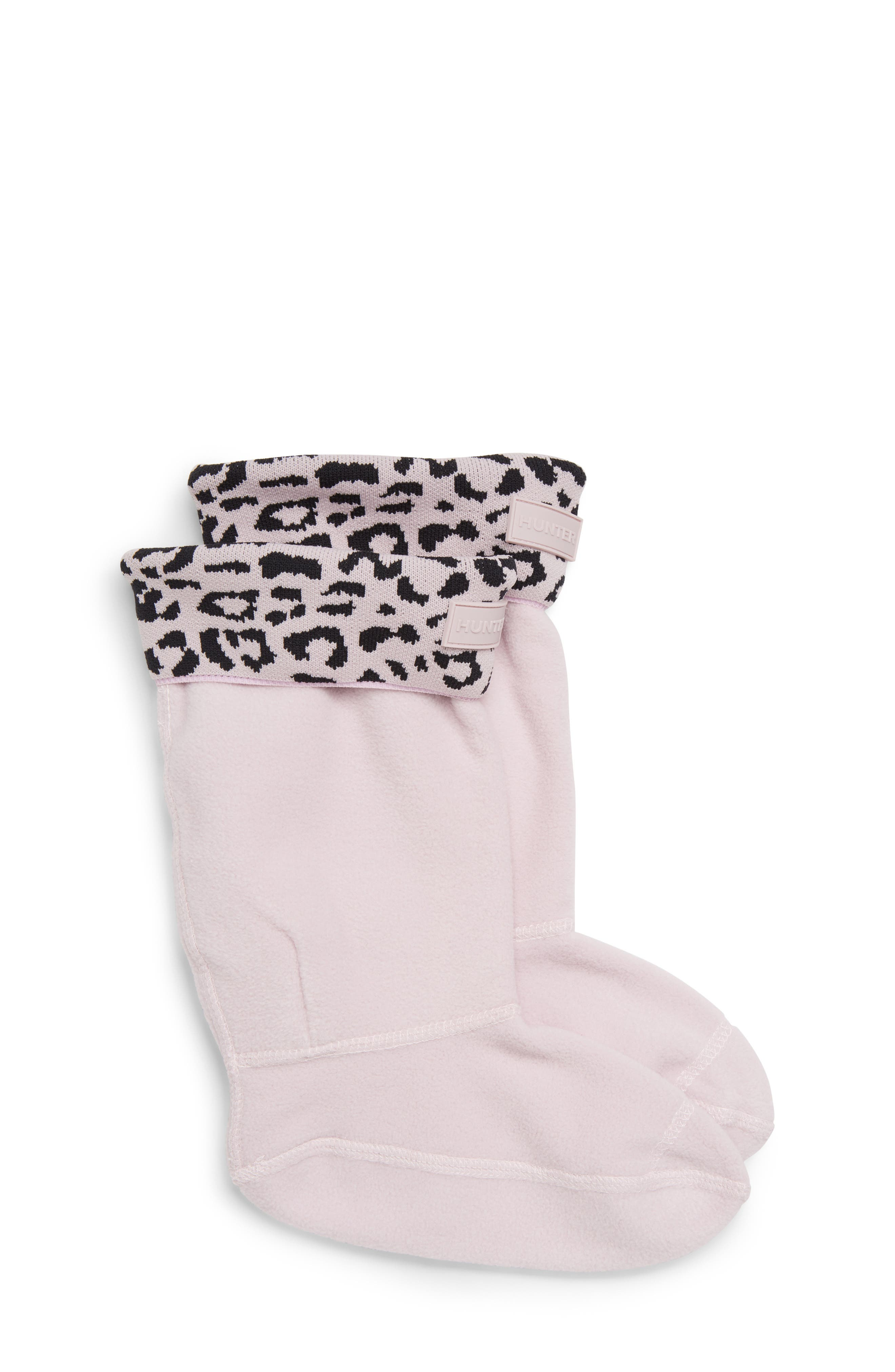 Girls Hunter Snow Leopard Cuffed Boot Socks Size XL (46)  Pink
