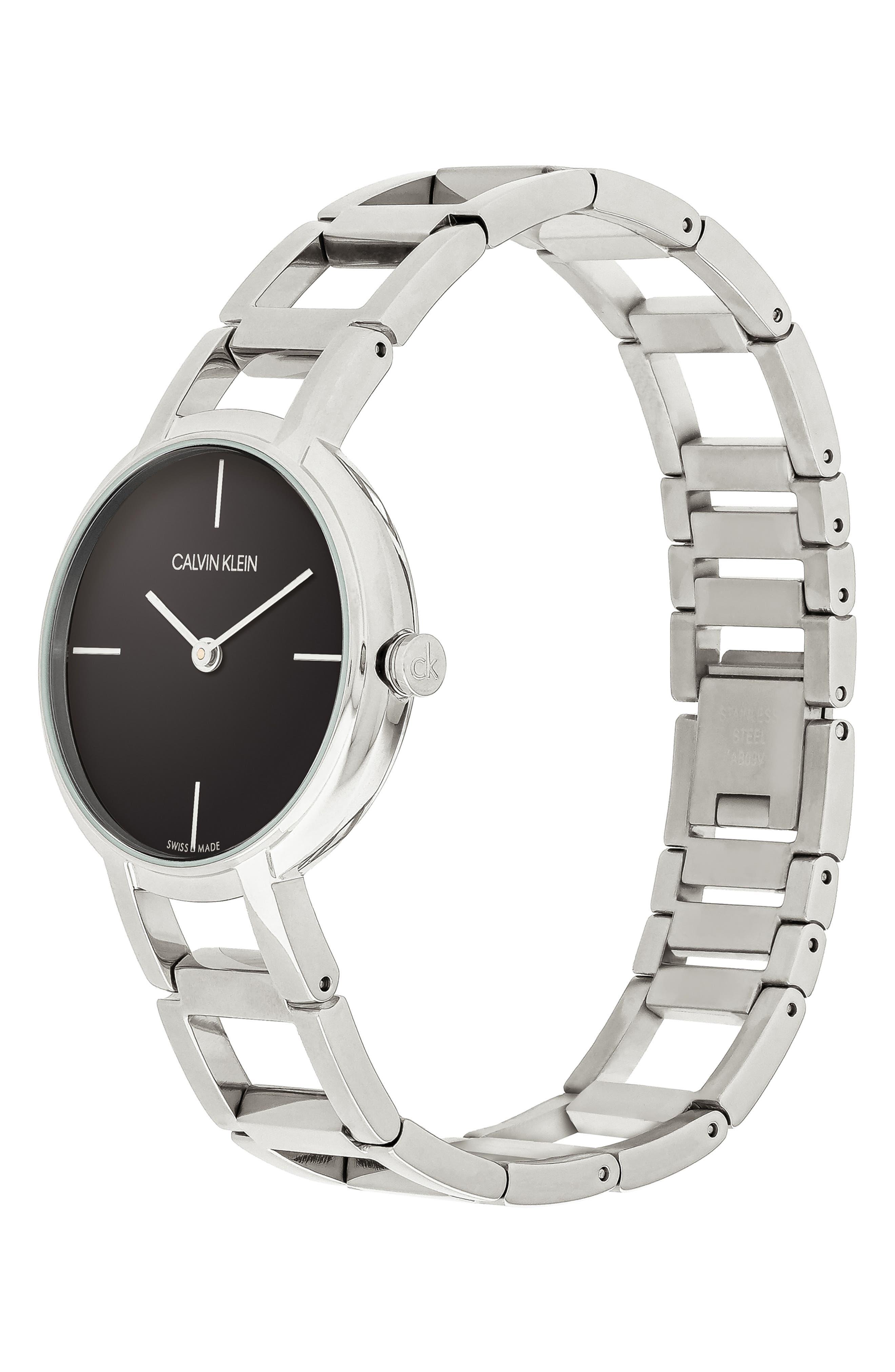 CALVIN KLEIN, Cheers Bracelet Watch, 32mm, Alternate thumbnail 4, color, SILVER/ BLACK/ SILVER