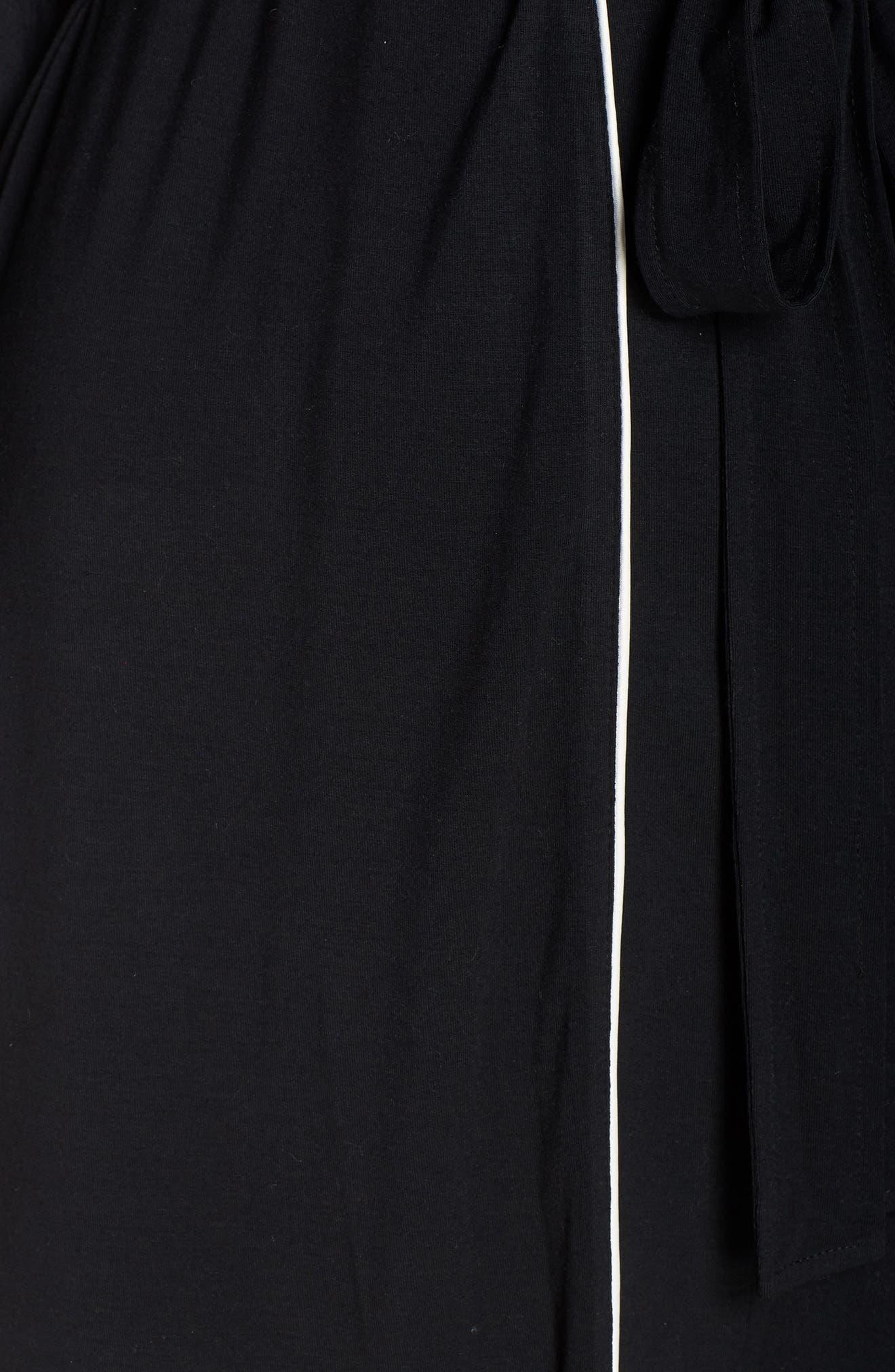 NORDSTROM LINGERIE, Moonlight Jersey Robe, Alternate thumbnail 5, color, 001