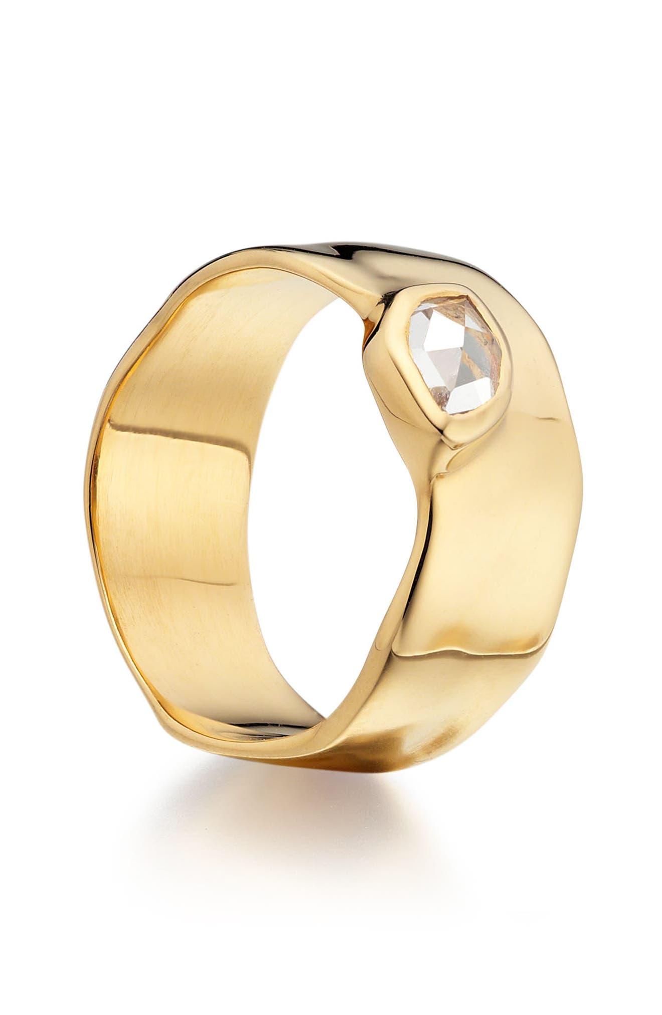MONICA VINADER, 'Siren' Wide Band Ring, Alternate thumbnail 3, color, WHITE TOPAZ/ YELLOW GOLD
