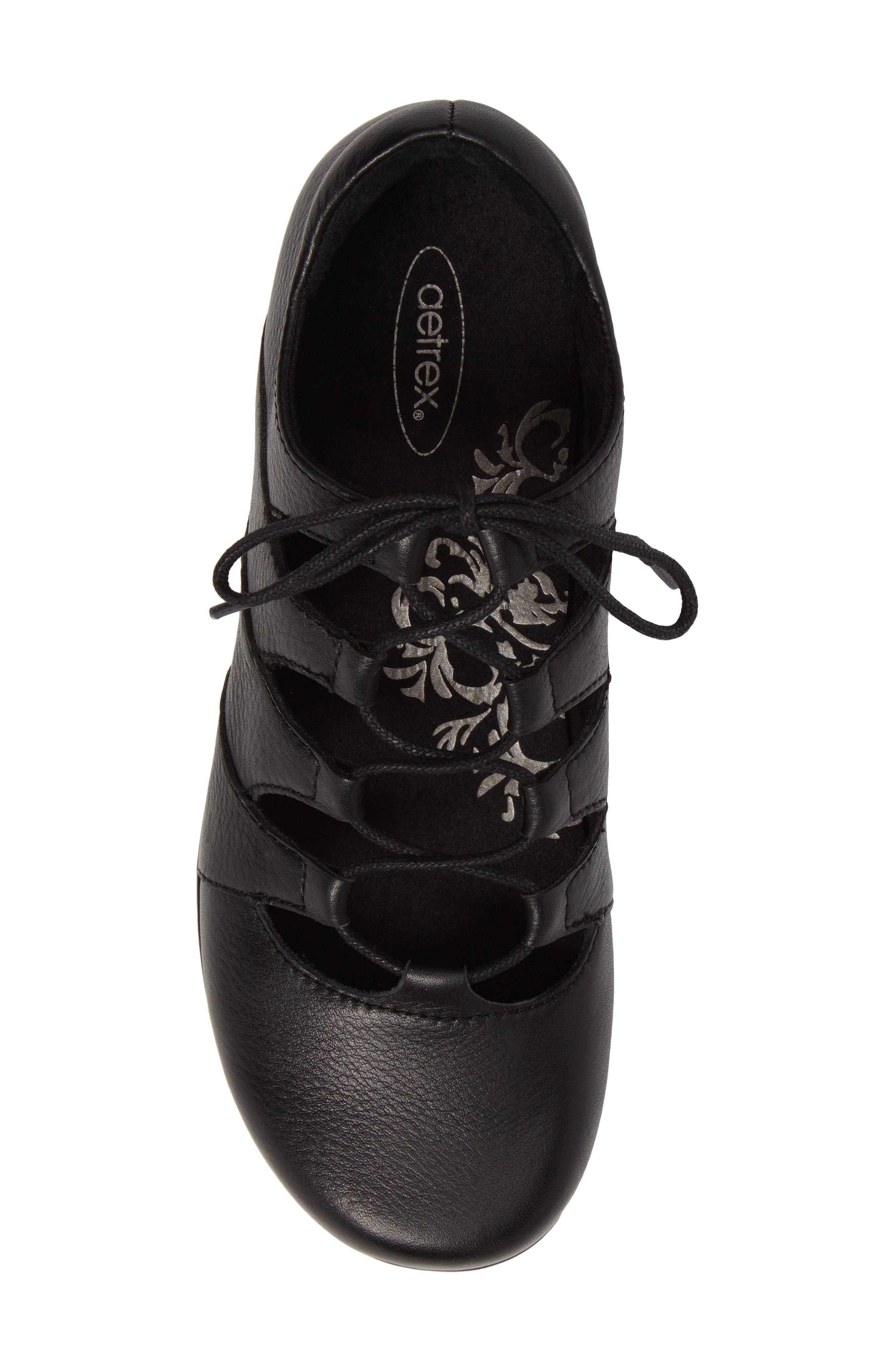 AETREX, Sienna Cutout Sneaker, Alternate thumbnail 5, color, BLACK LEATHER/ BLACK
