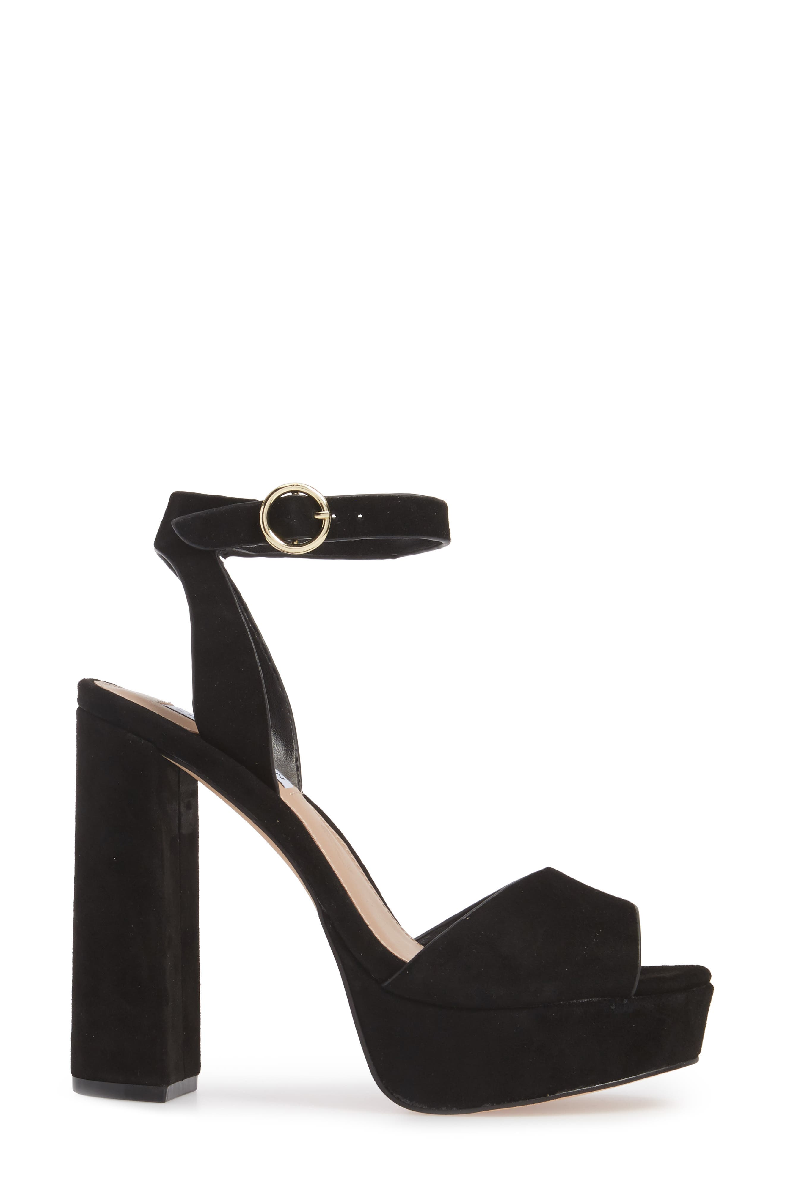 STEVE MADDEN, Madeline Platform Sandal, Alternate thumbnail 3, color, BLACK SUEDE