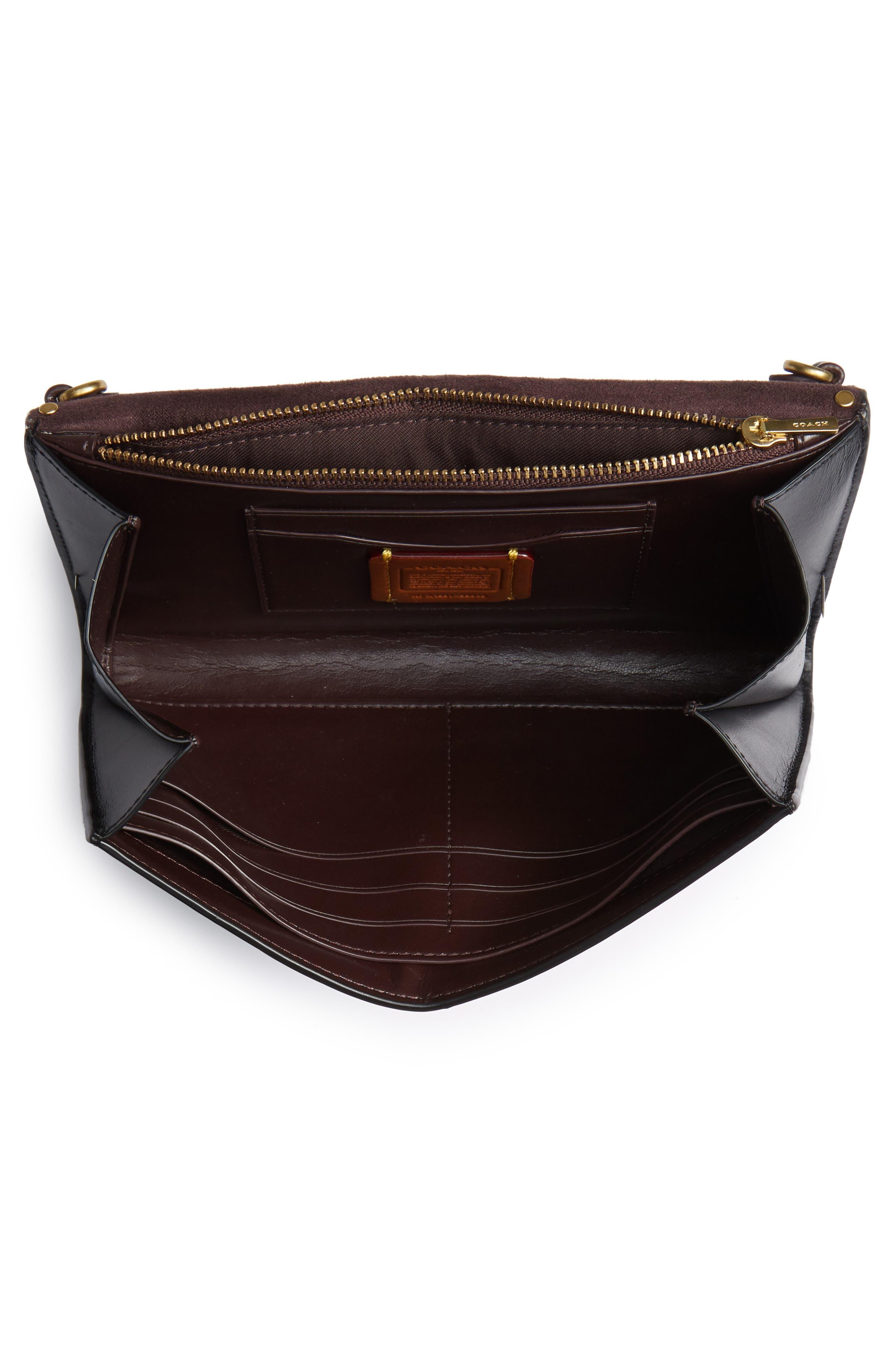 COACH, Marlow Rivets Leather Crossbody Bag, Alternate thumbnail 5, color, BLACK
