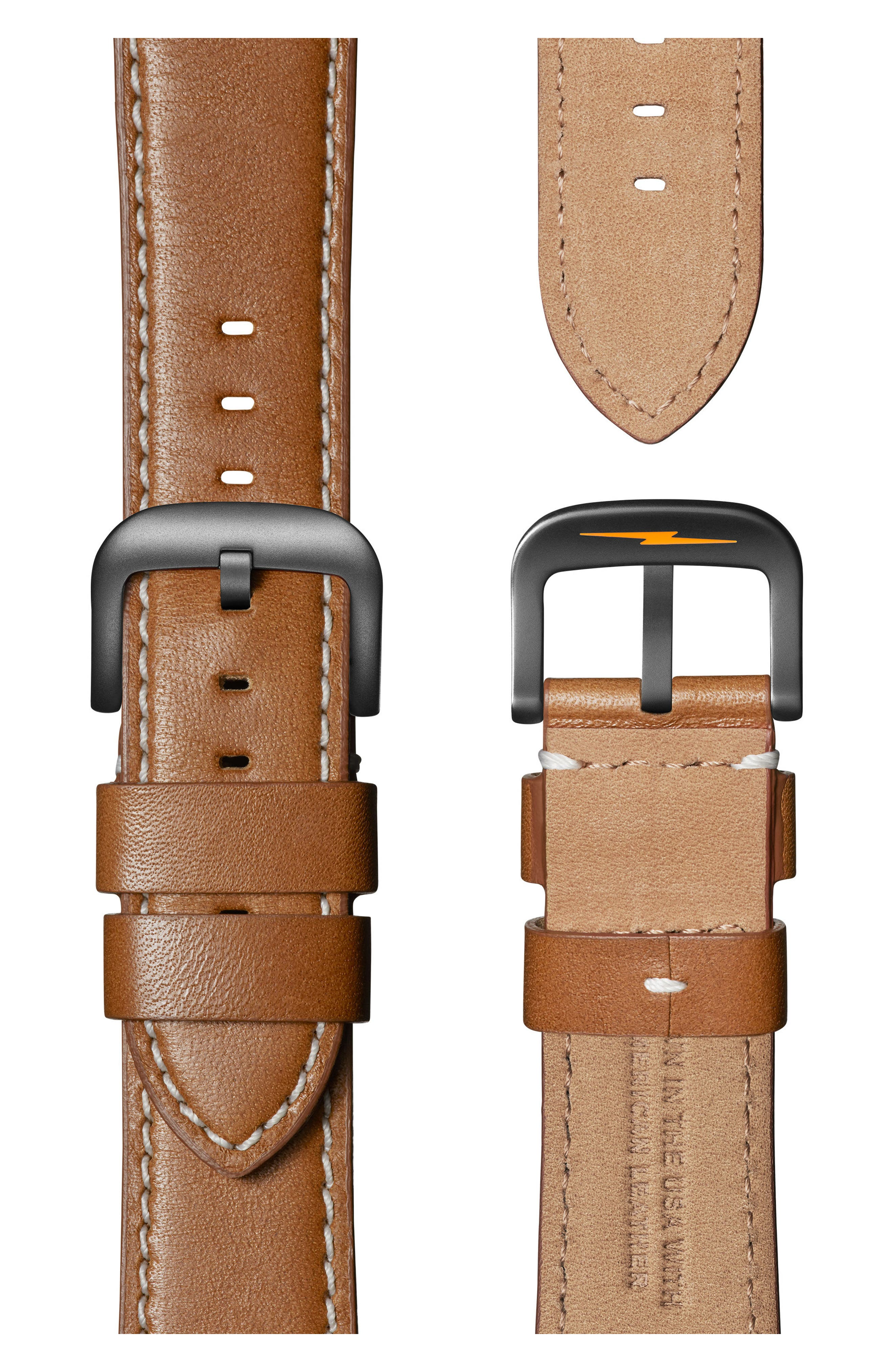 SHINOLA, Guardian Leather Strap Watch, 41mm, Alternate thumbnail 3, color, TAN/ BLACK