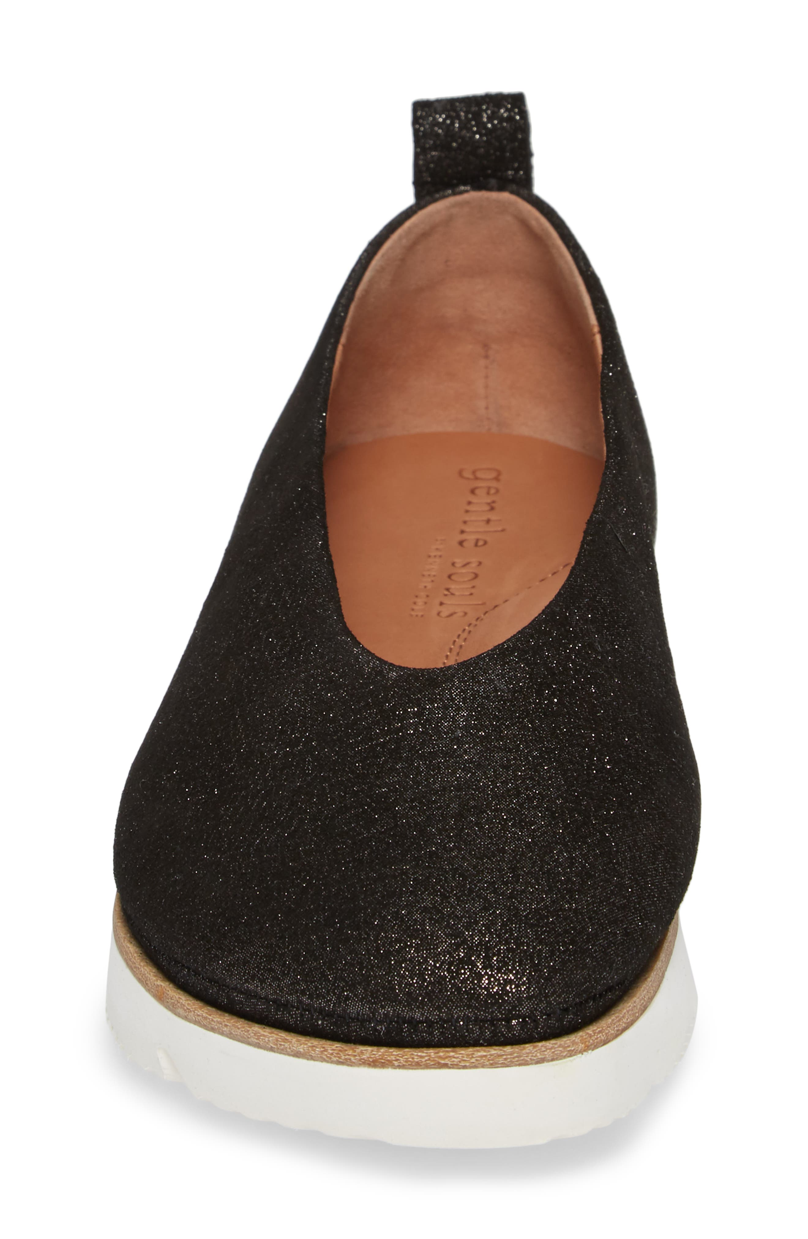 GENTLE SOULS BY KENNETH COLE, Demi Flat, Alternate thumbnail 4, color, BLACK EMBOSSED LEATHER