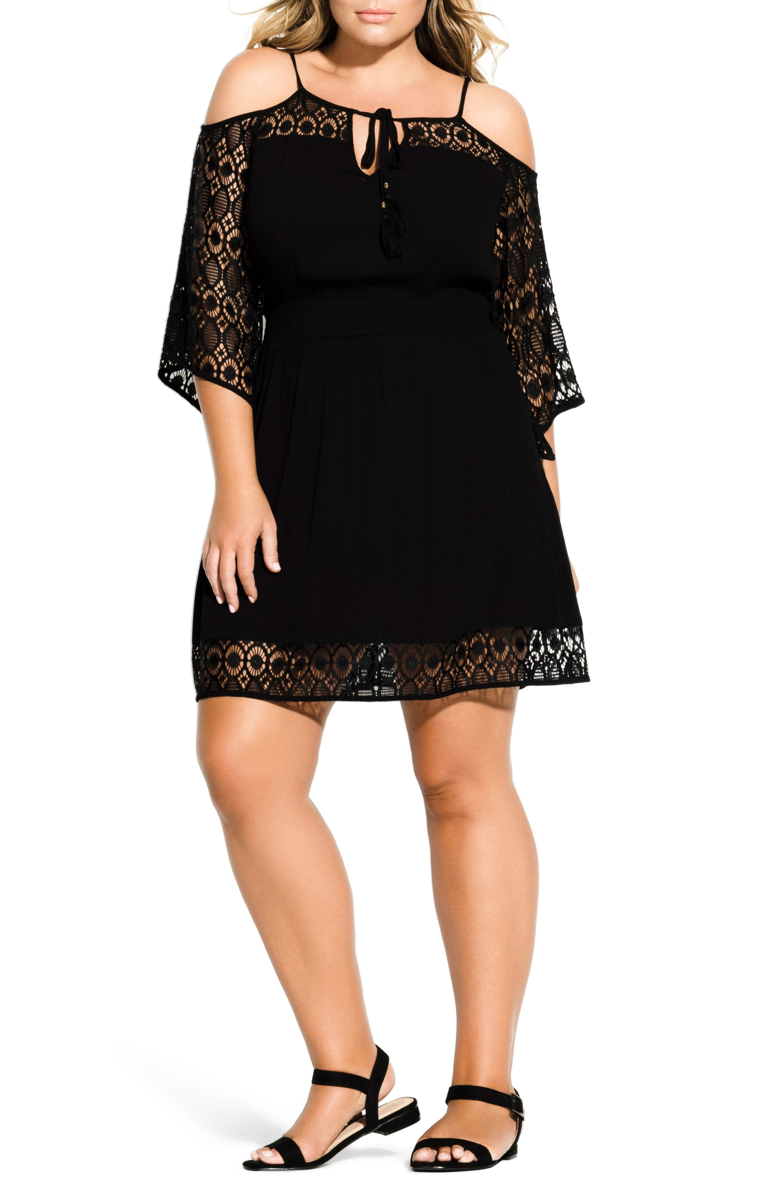 Plus Size City Chic Crochet Cold Shoulder Dress, Black