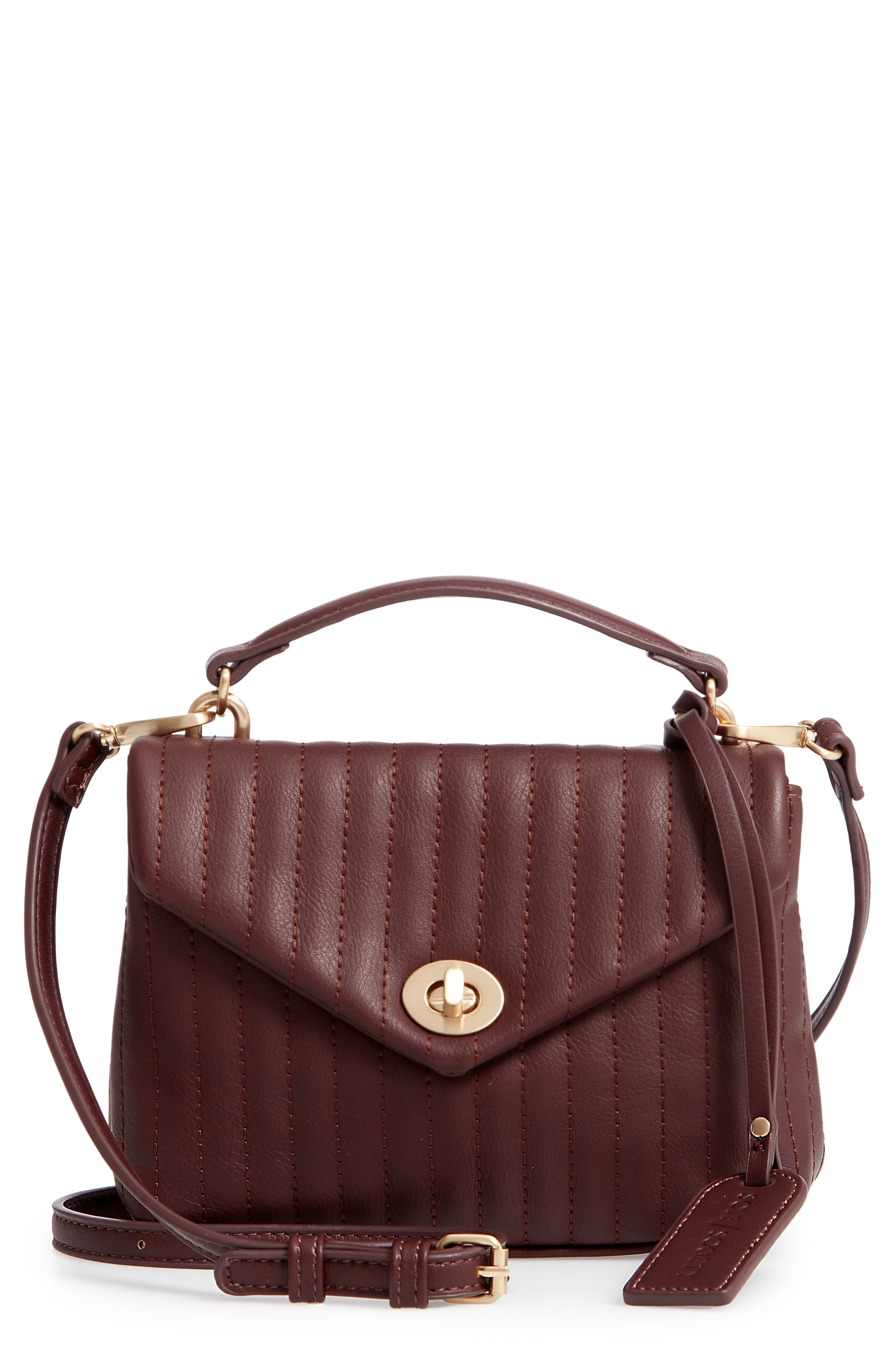 SOLE SOCIETY, Urche Faux Leather Crossbody Bag, Main thumbnail 1, color, OXBLOOD