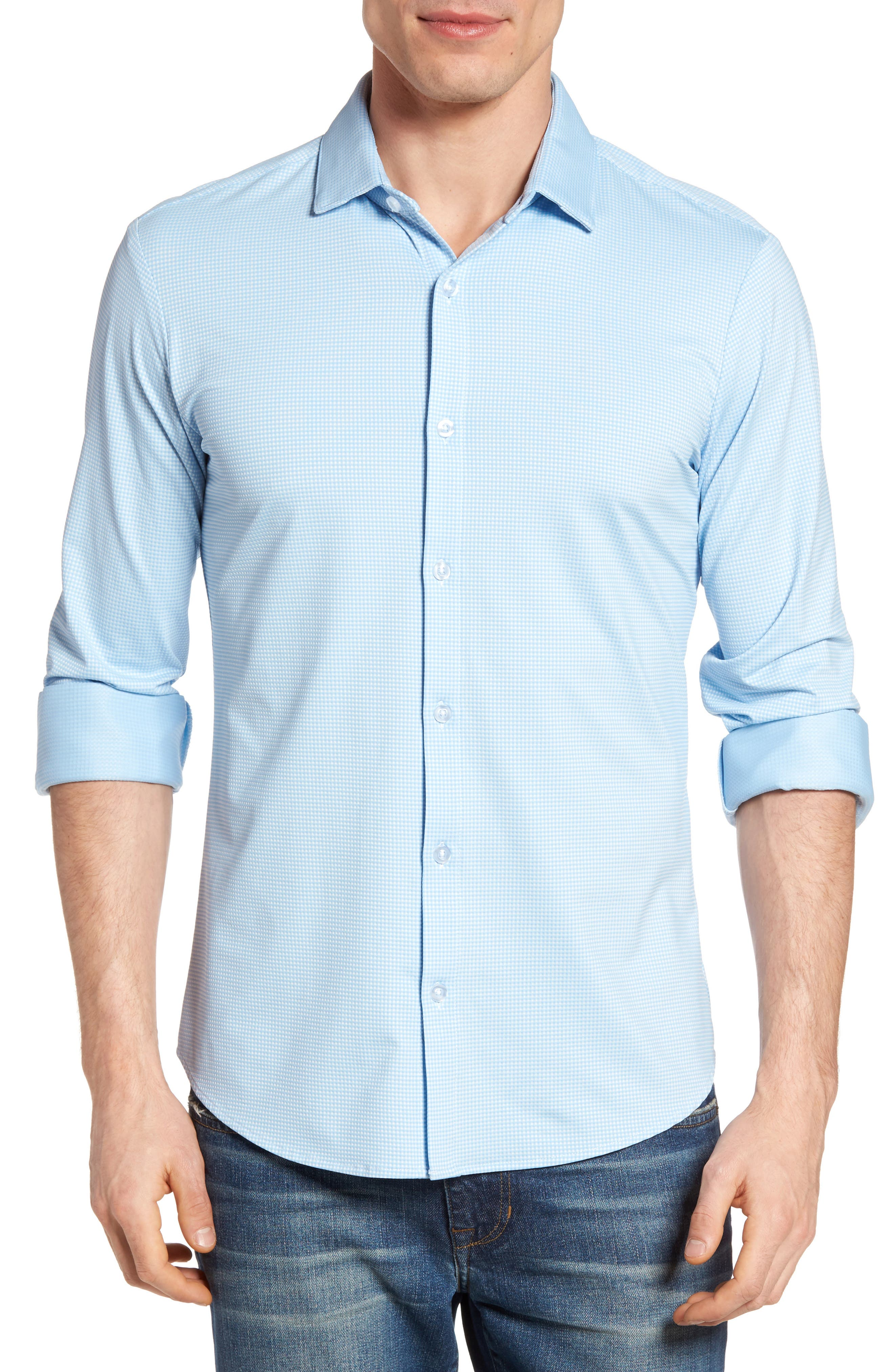 MIZZEN+MAIN, Whitman Trim Fit Dobby Gingham Performance Sport Shirt, Main thumbnail 1, color, BLUE