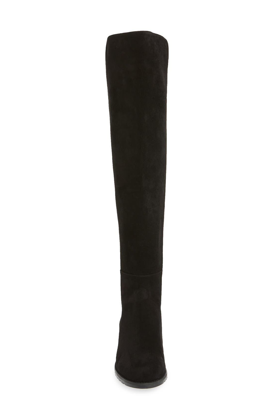STUART WEITZMAN, 5050 Over the Knee Leather Boot, Alternate thumbnail 3, color, BLACK SUEDE