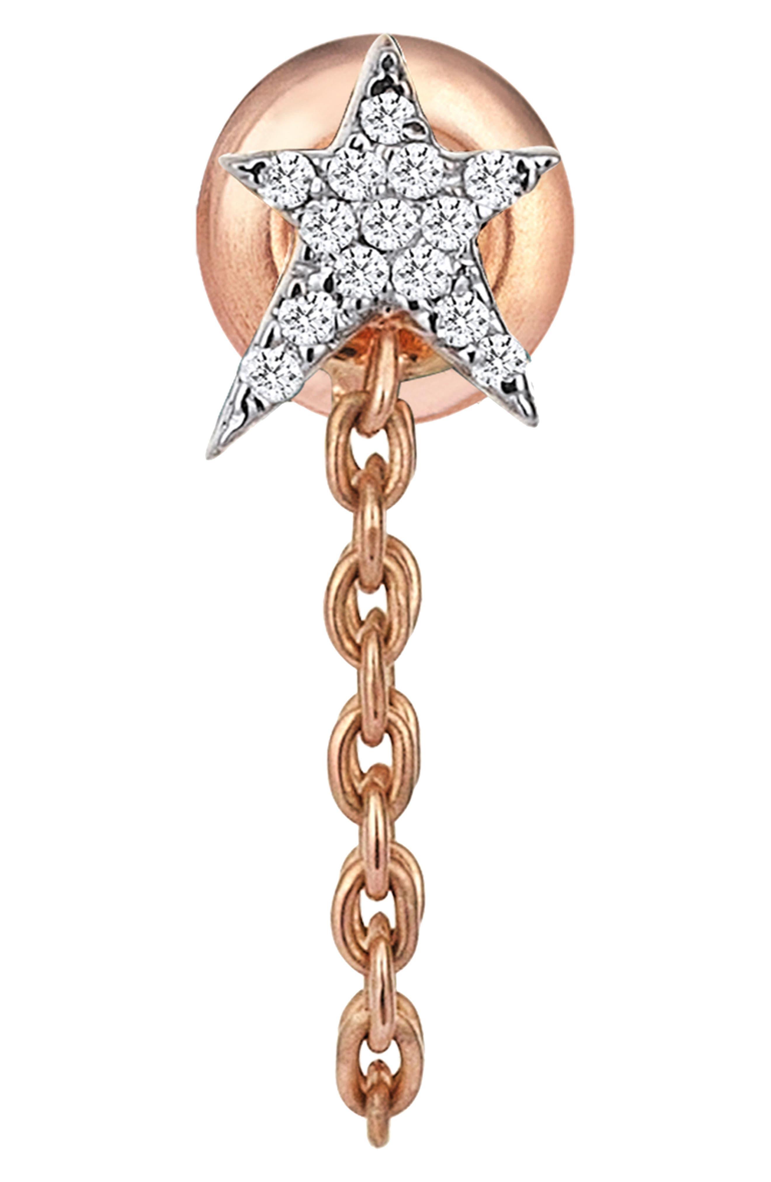 KISMET BY MILKA, Struck Star Diamond Chain Earring, Main thumbnail 1, color, ROSE GOLD