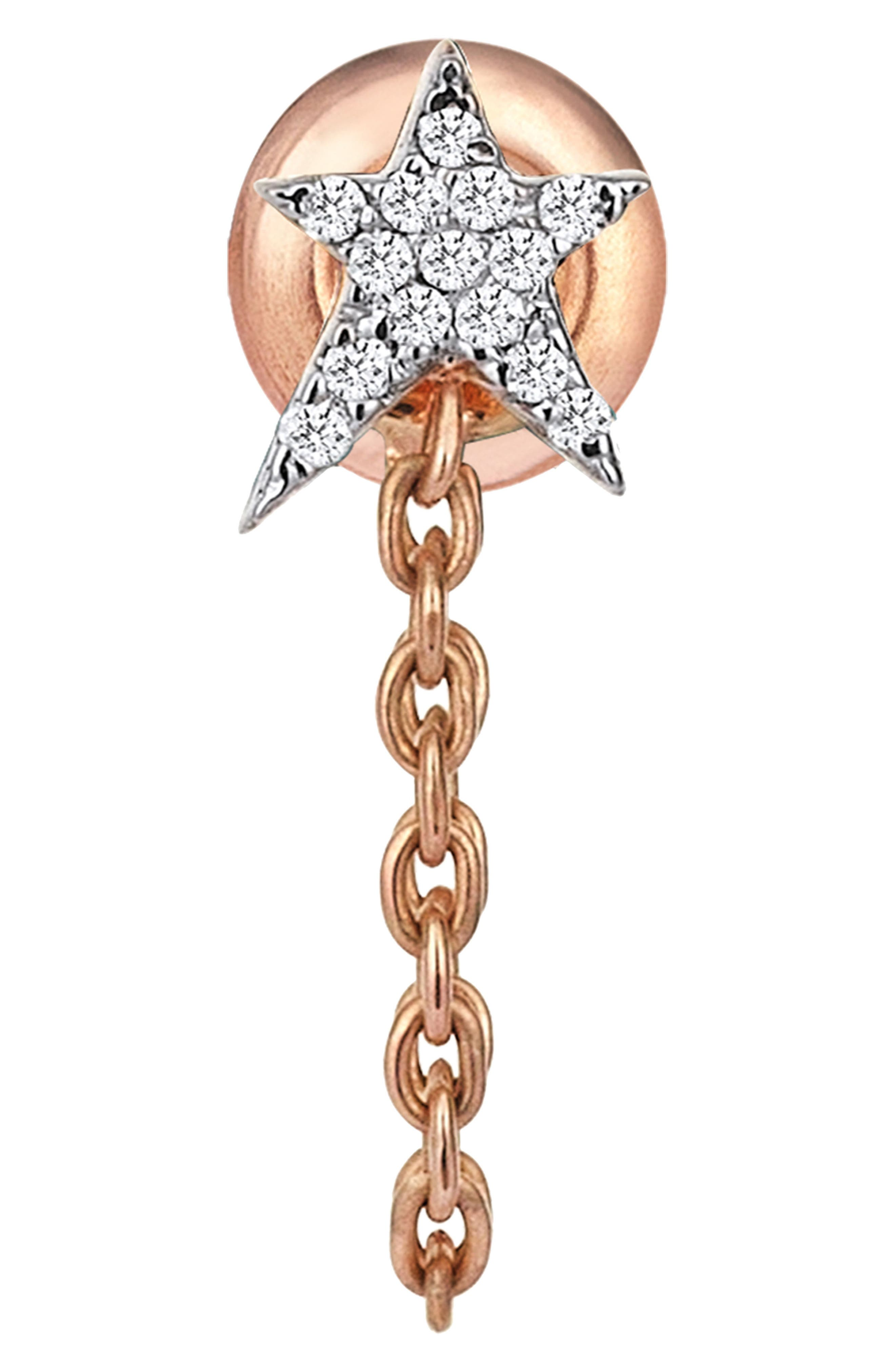 KISMET BY MILKA Struck Star Diamond Chain Earring, Main, color, ROSE GOLD