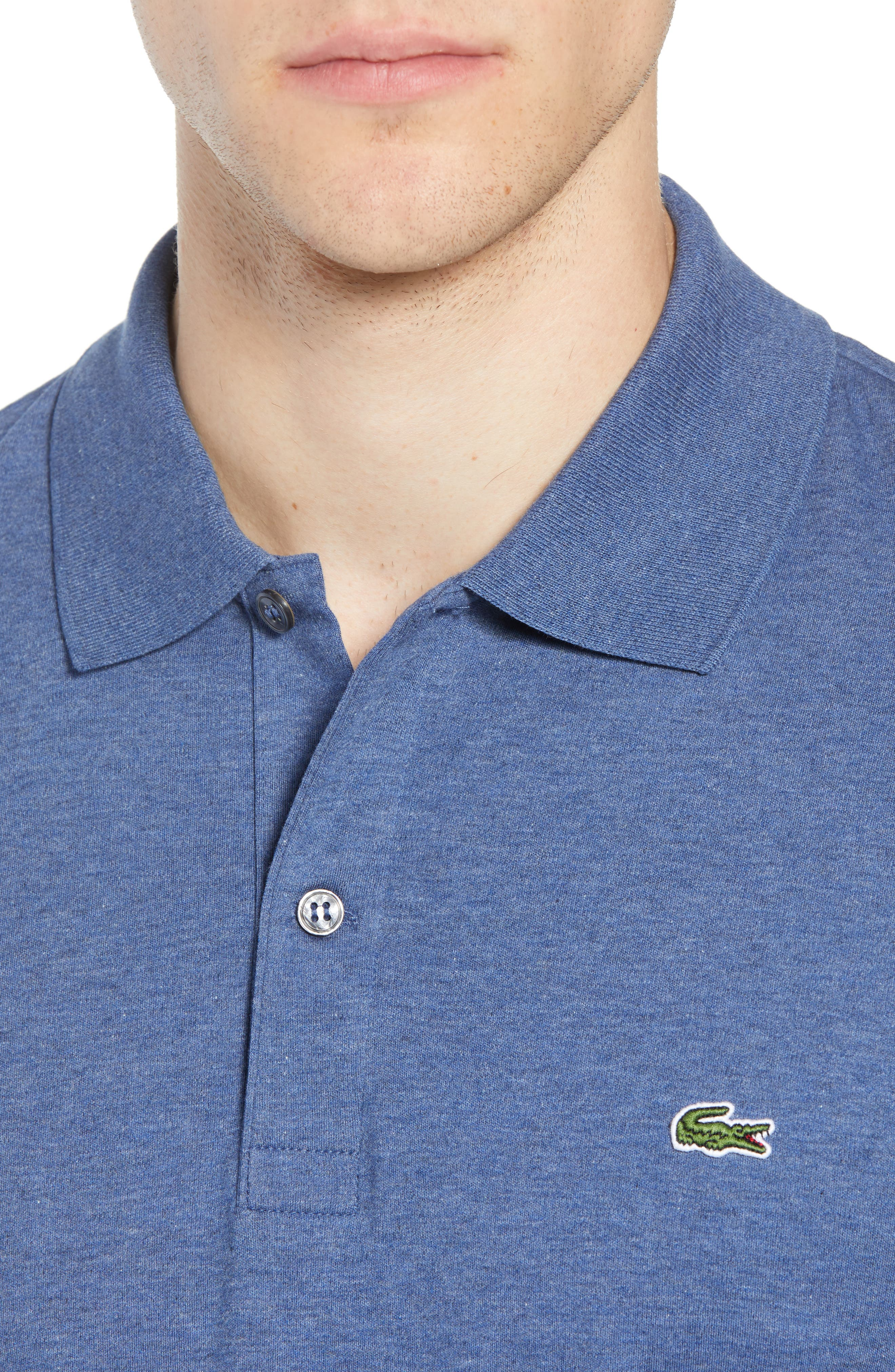 LACOSTE, Jersey Interlock Regular Fit Polo, Alternate thumbnail 4, color, CRUISE CHINE