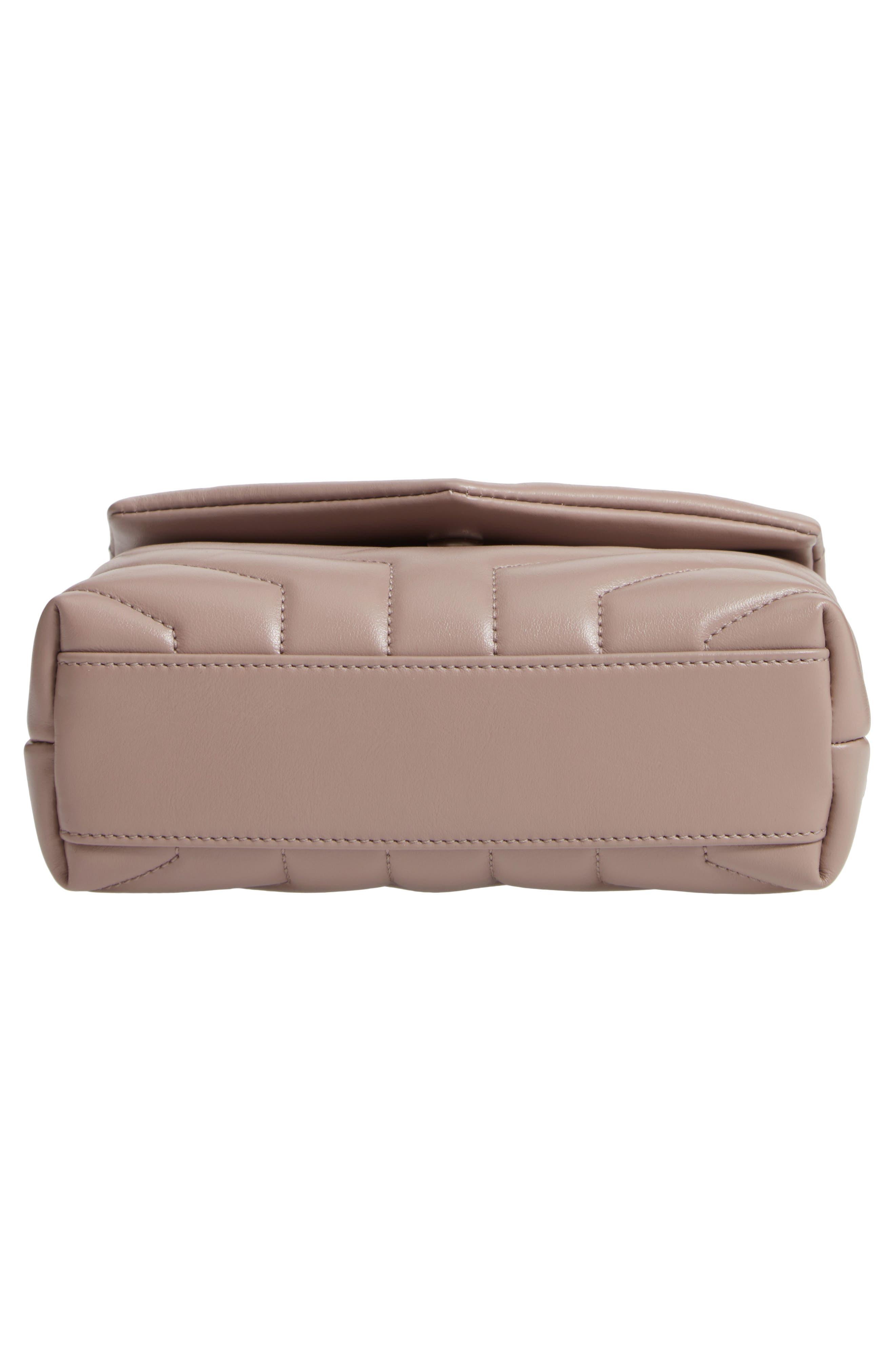 SAINT LAURENT, Toy Loulou Calfskin Leather Crossbody Bag, Alternate thumbnail 6, color, MINK
