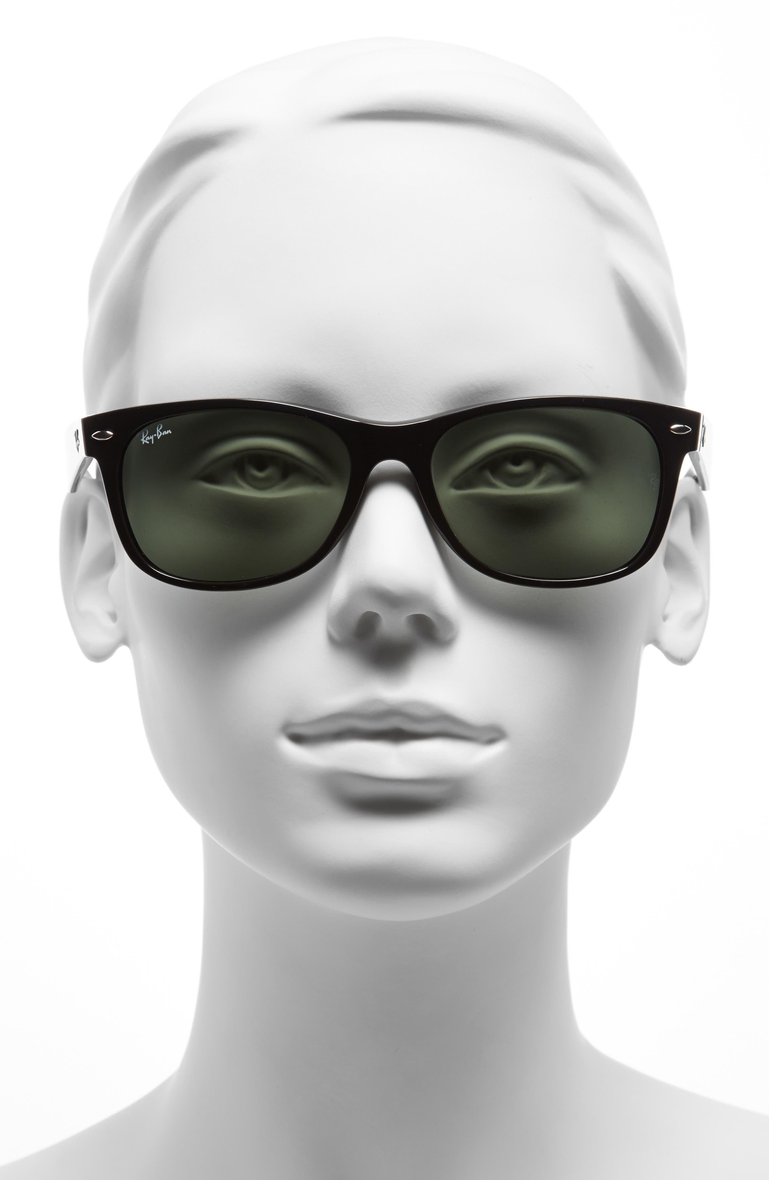 RAY-BAN, Standard New Wayfarer 55mm Sunglasses, Alternate thumbnail 2, color, BLACK