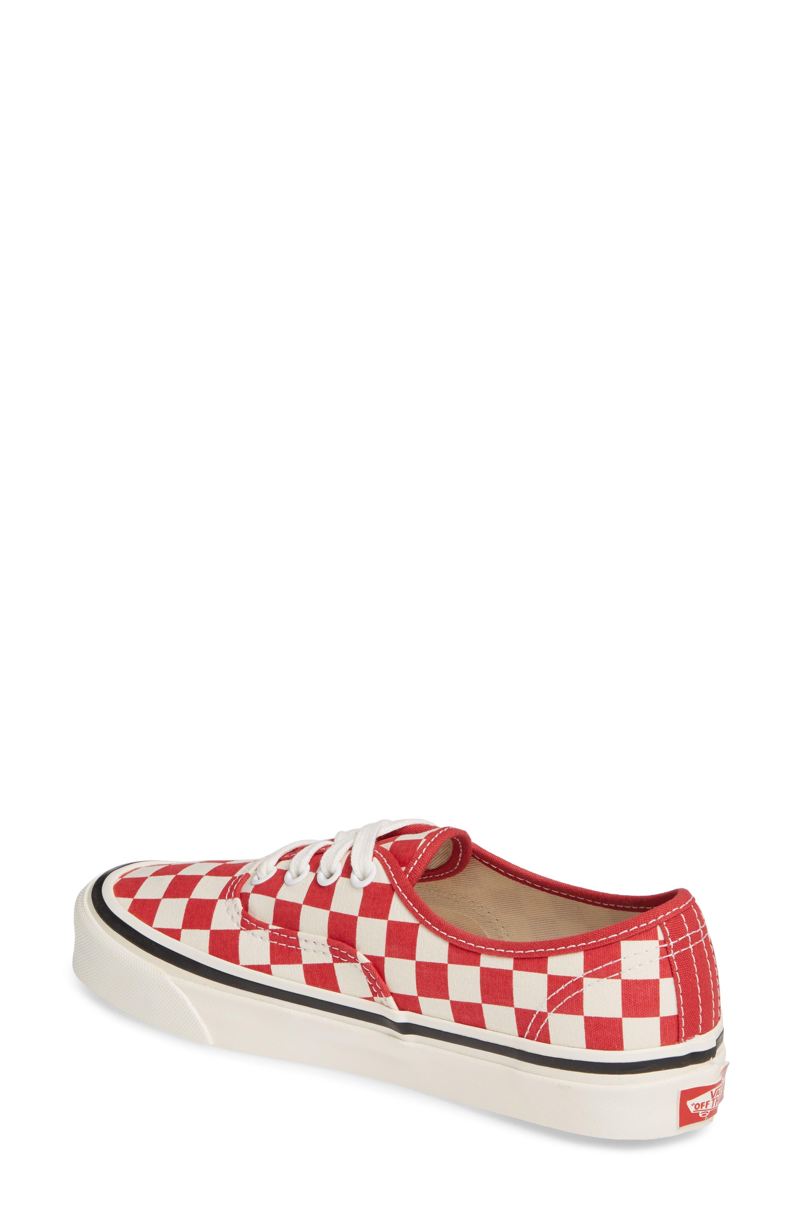 VANS, Authentic 44 DX Sneaker, Alternate thumbnail 2, color, RED/ CHECK