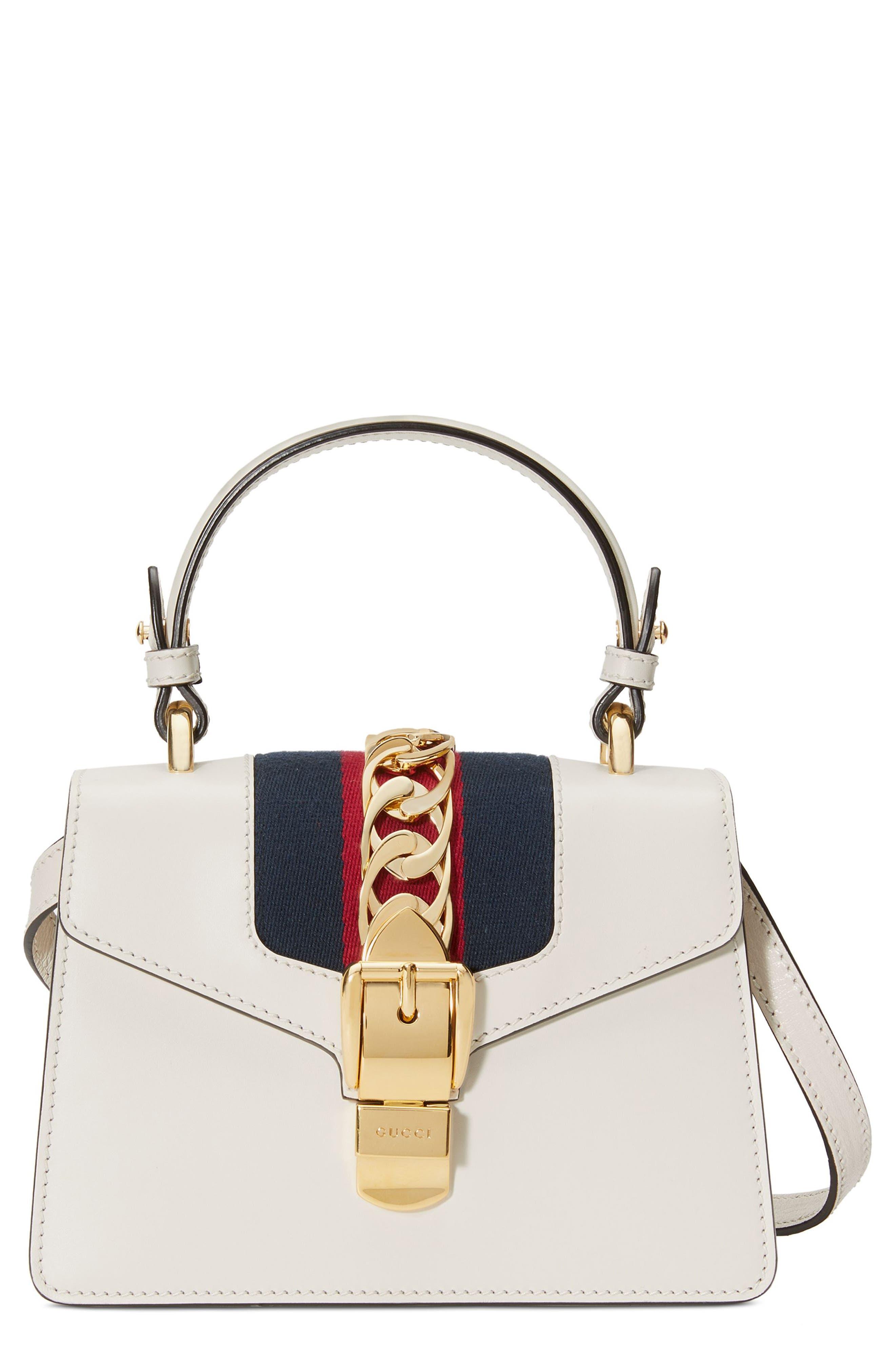 GUCCI, Mini Sylvie Top Handle Leather Shoulder Bag, Main thumbnail 1, color, MYSTIC WHITE