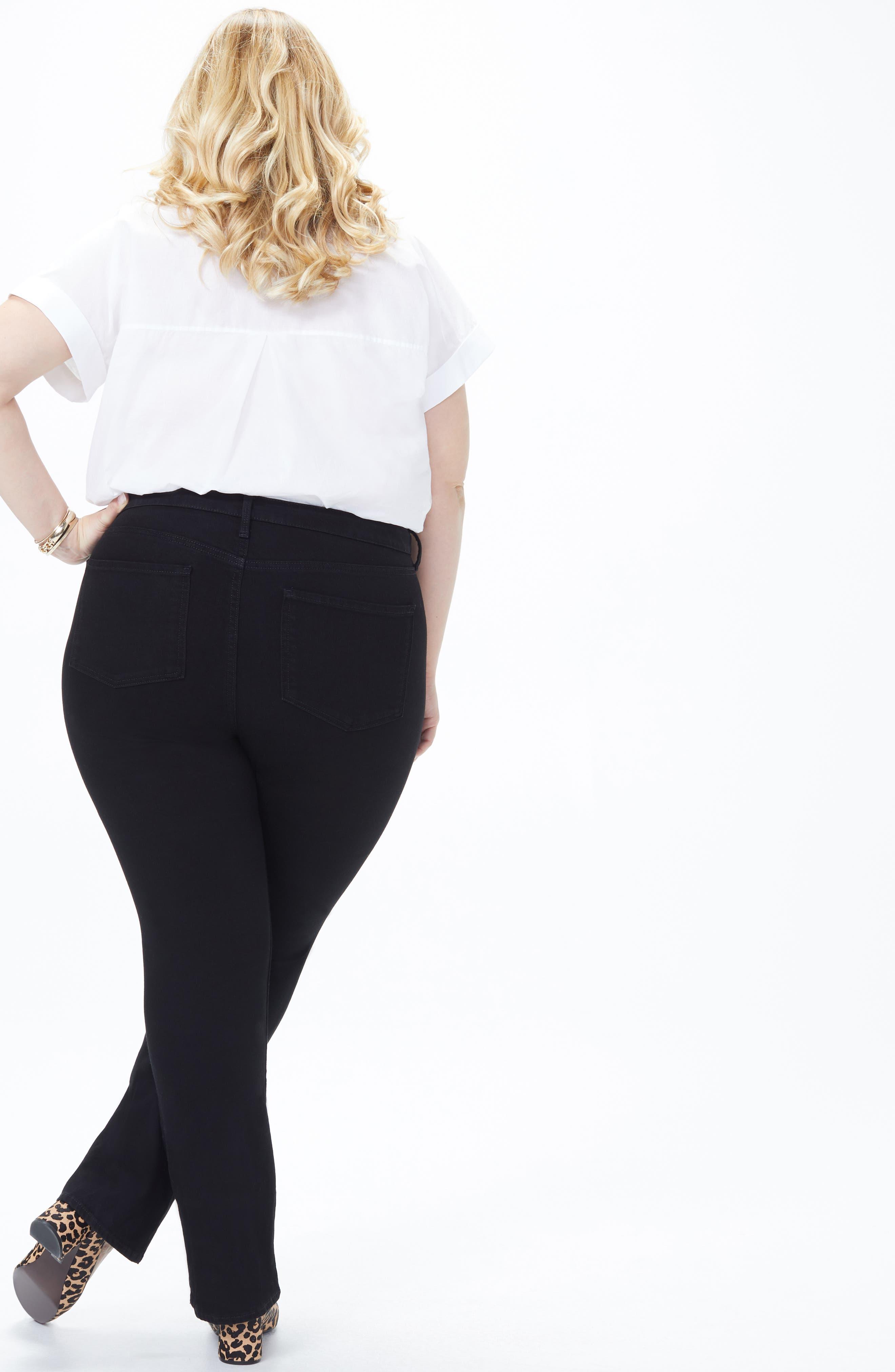 NYDJ, Barbara High Rise Bootcut Jeans, Alternate thumbnail 8, color, BLACK