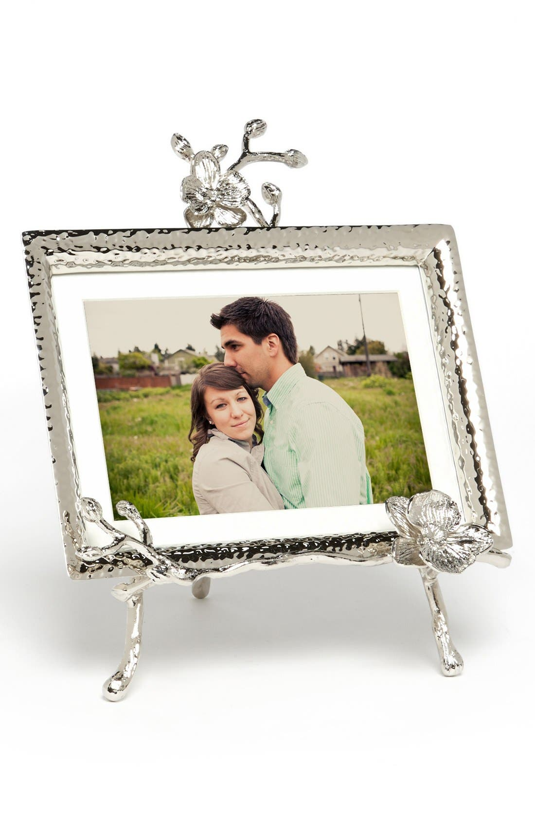 MICHAEL ARAM, White Orchid Easel Picture Frame, Main thumbnail 1, color, SILVER