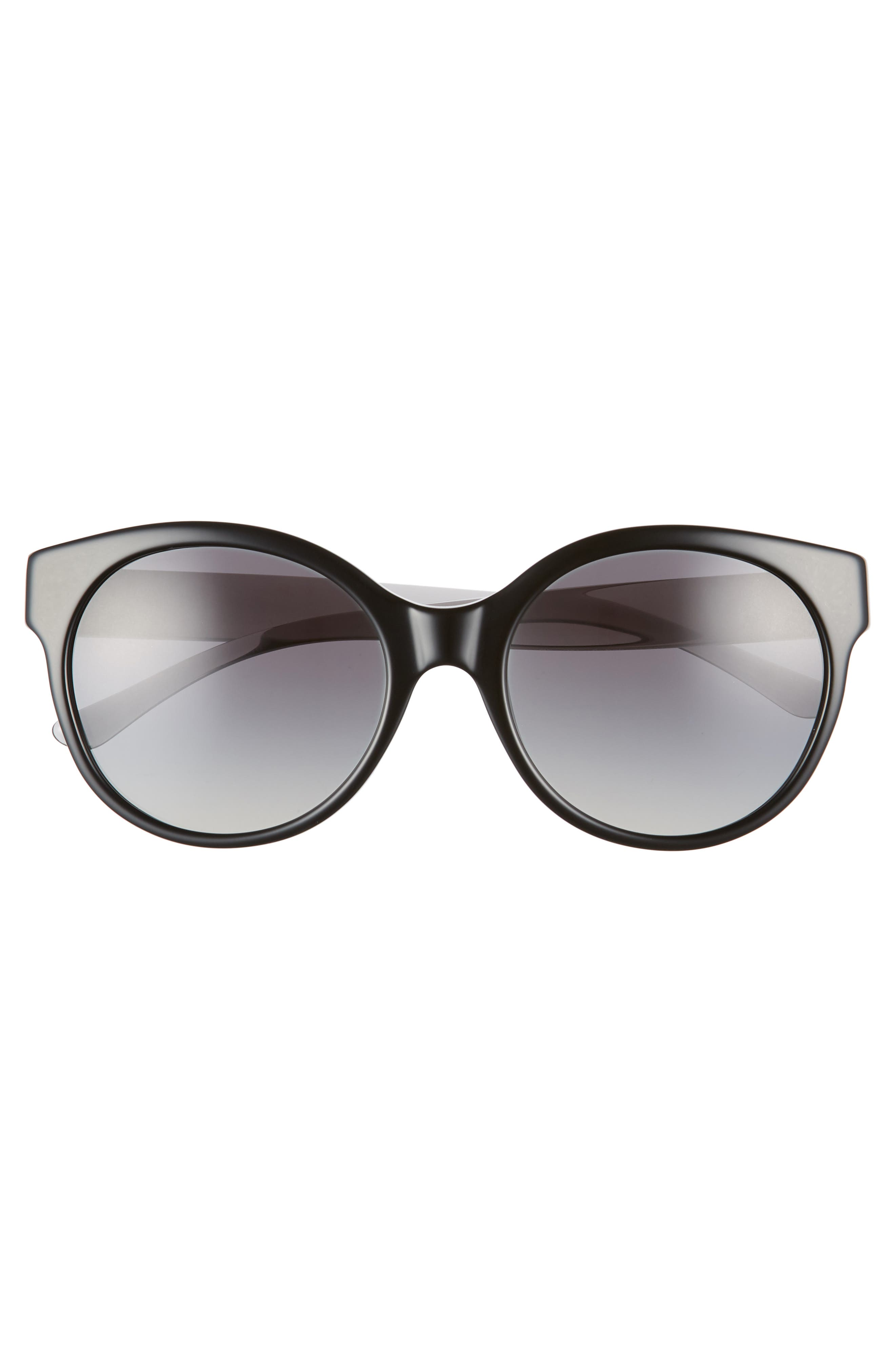 TORY BURCH, Stacked T 55mm Round Sunglasses, Alternate thumbnail 3, color, BLACK GRADIENT