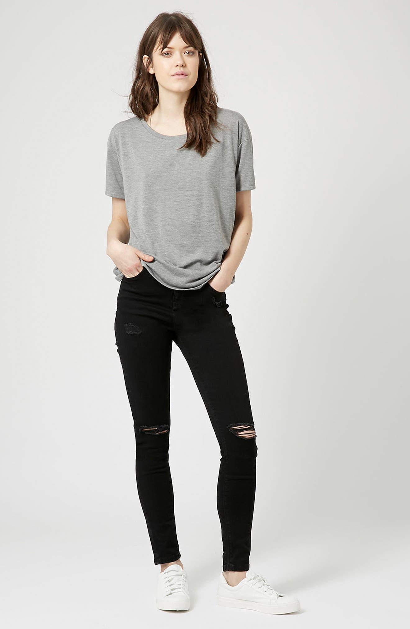 TOPSHOP, Moto Jamie High Waist Ripped Black Jeans, Alternate thumbnail 6, color, BLACK