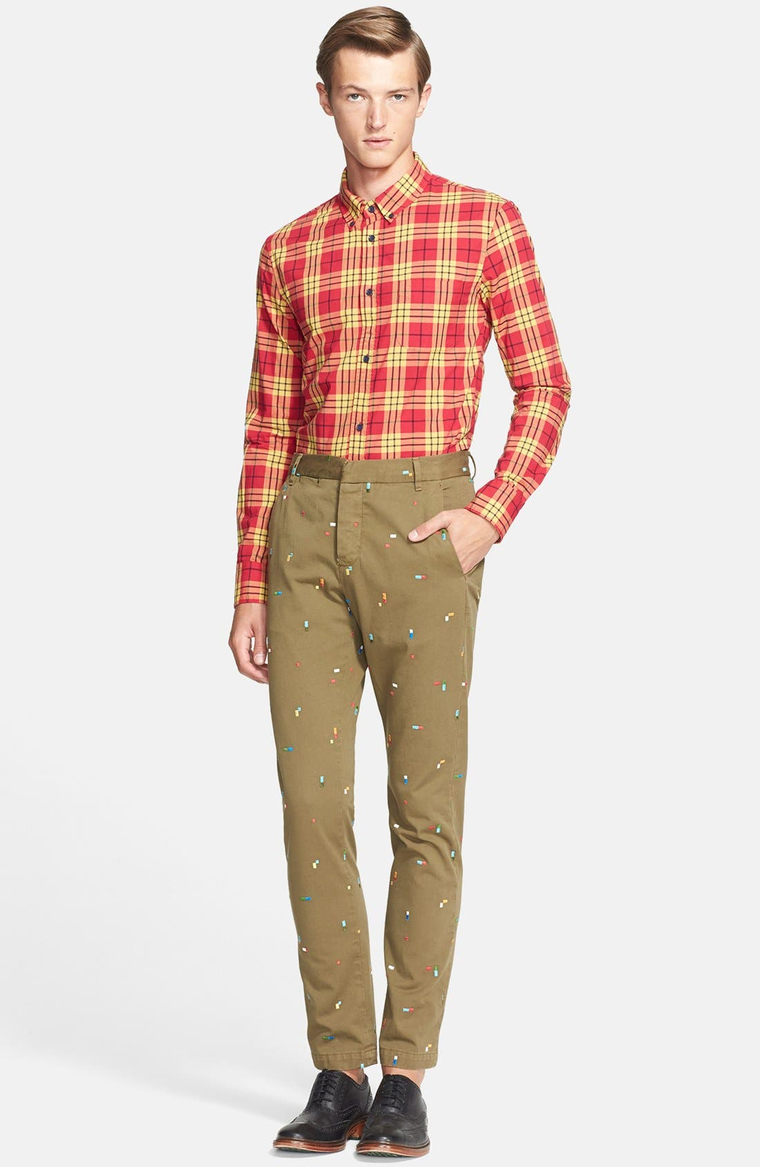 BAND OF OUTSIDERS, Slim Fit Embroidered Chinos, Alternate thumbnail 3, color, 411