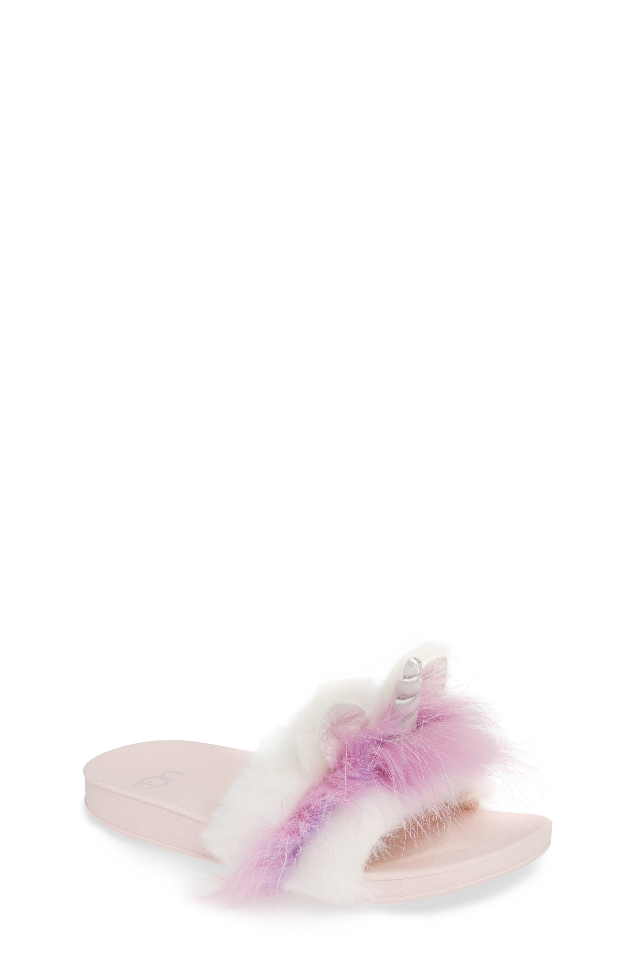 UGG<SUP>®</SUP>, Rainbow Unicorn Faux Fur & Genuine Calf Hair Slide Sandal, Main thumbnail 1, color, MULTI