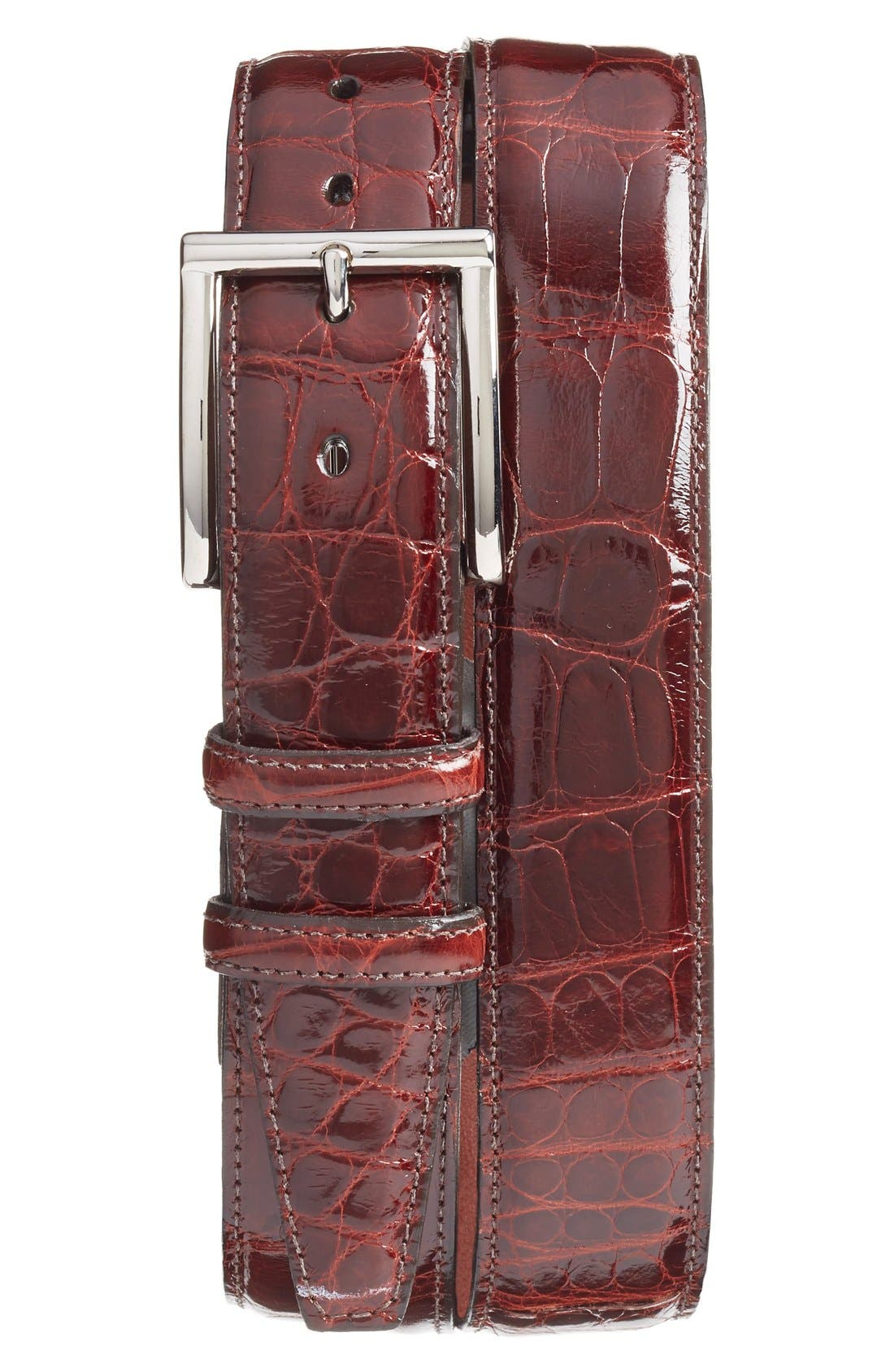 TORINO, Genuine American Alligator Leather Belt, Main thumbnail 1, color, DARK COGNAC