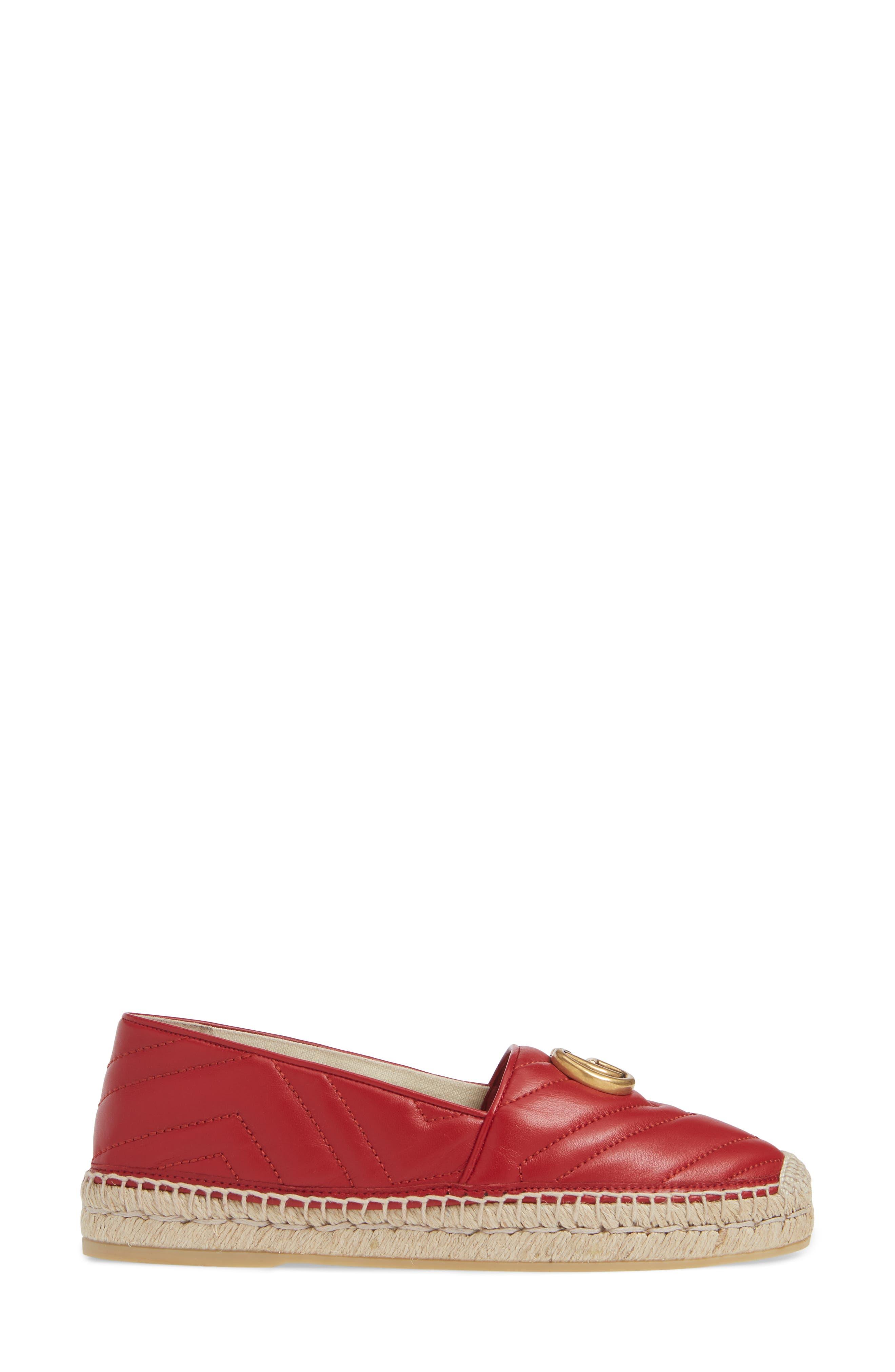 GUCCI, Pilar Chevron Flat Espadrille, Alternate thumbnail 3, color, HIBISCUS RED LEATHER