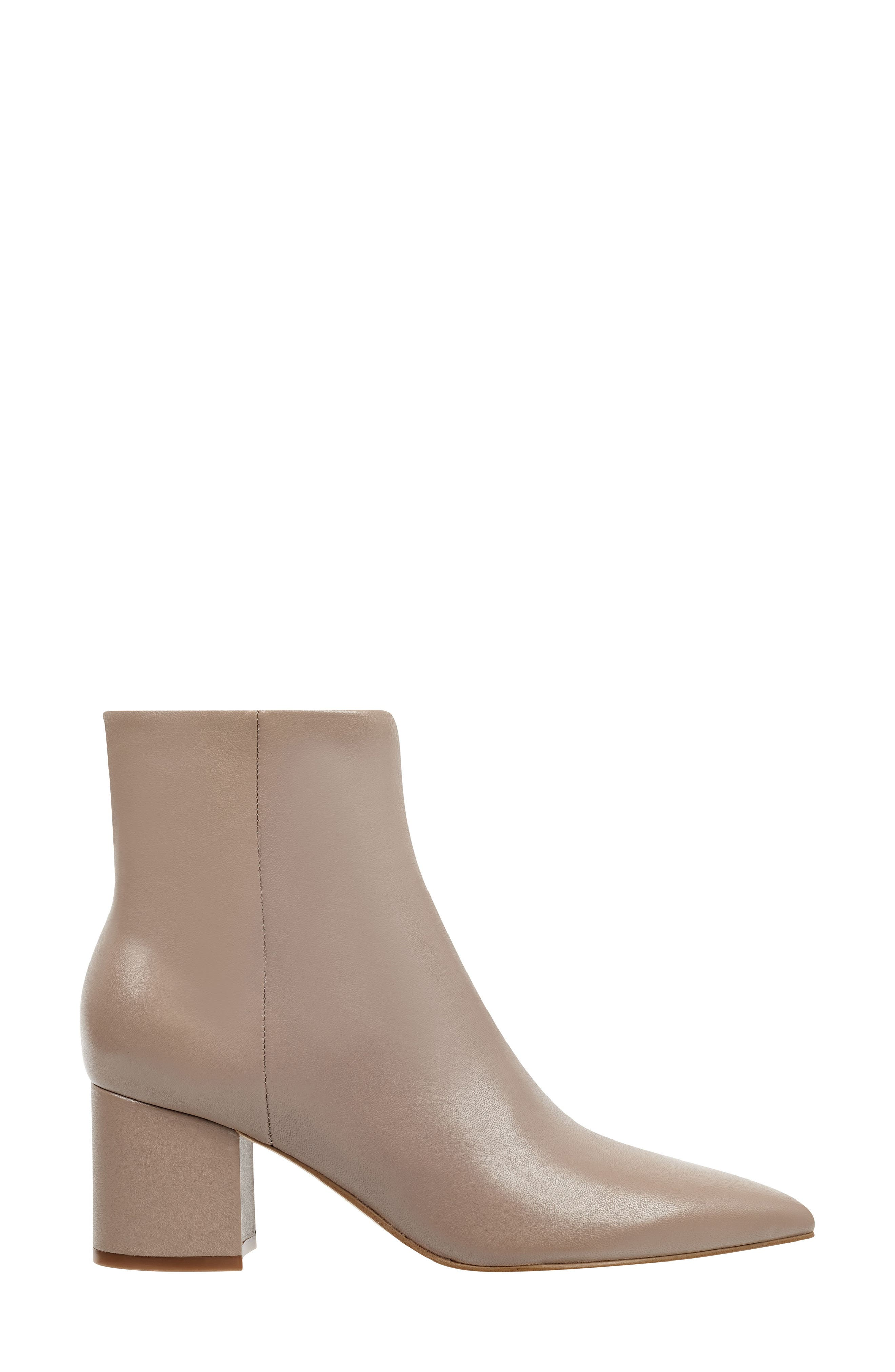 MARC FISHER LTD, Jarli Bootie, Alternate thumbnail 3, color, TAUPE LEATHER