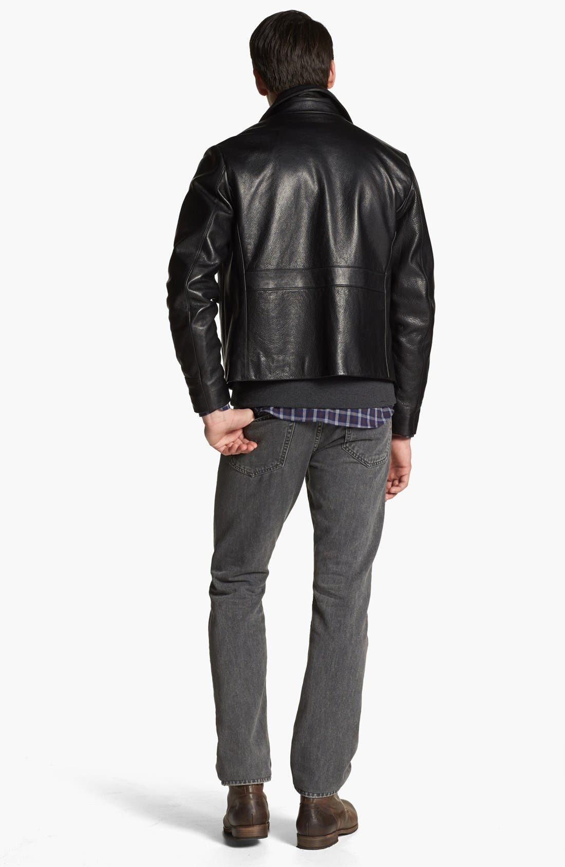 BILLY REID, Leather Flight Jacket, Alternate thumbnail 5, color, 001