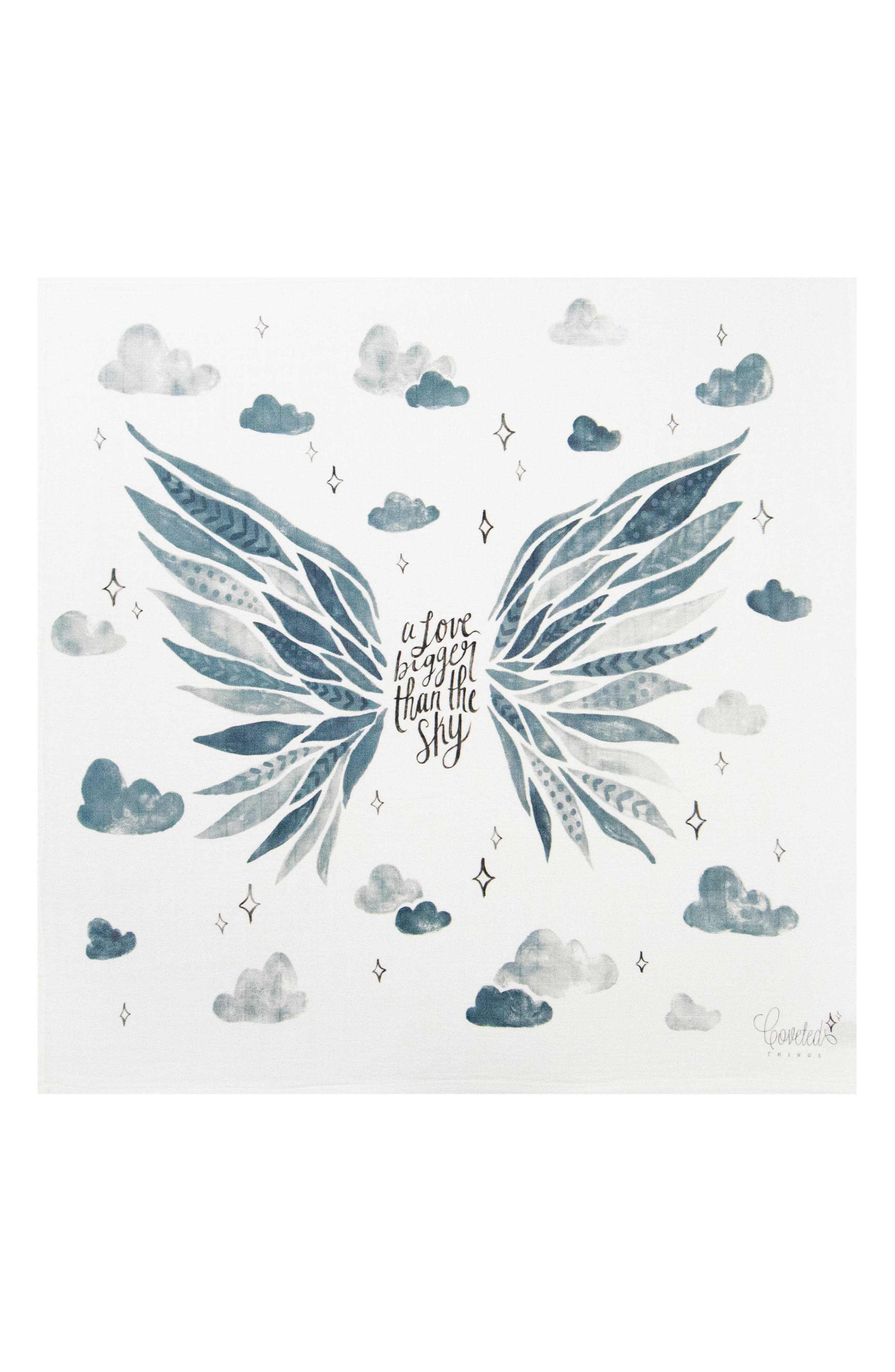 COVETED THINGS, Wings Organic Cotton Swaddle Scarf, Main thumbnail 1, color, CLOUD WHITE/ BLUE