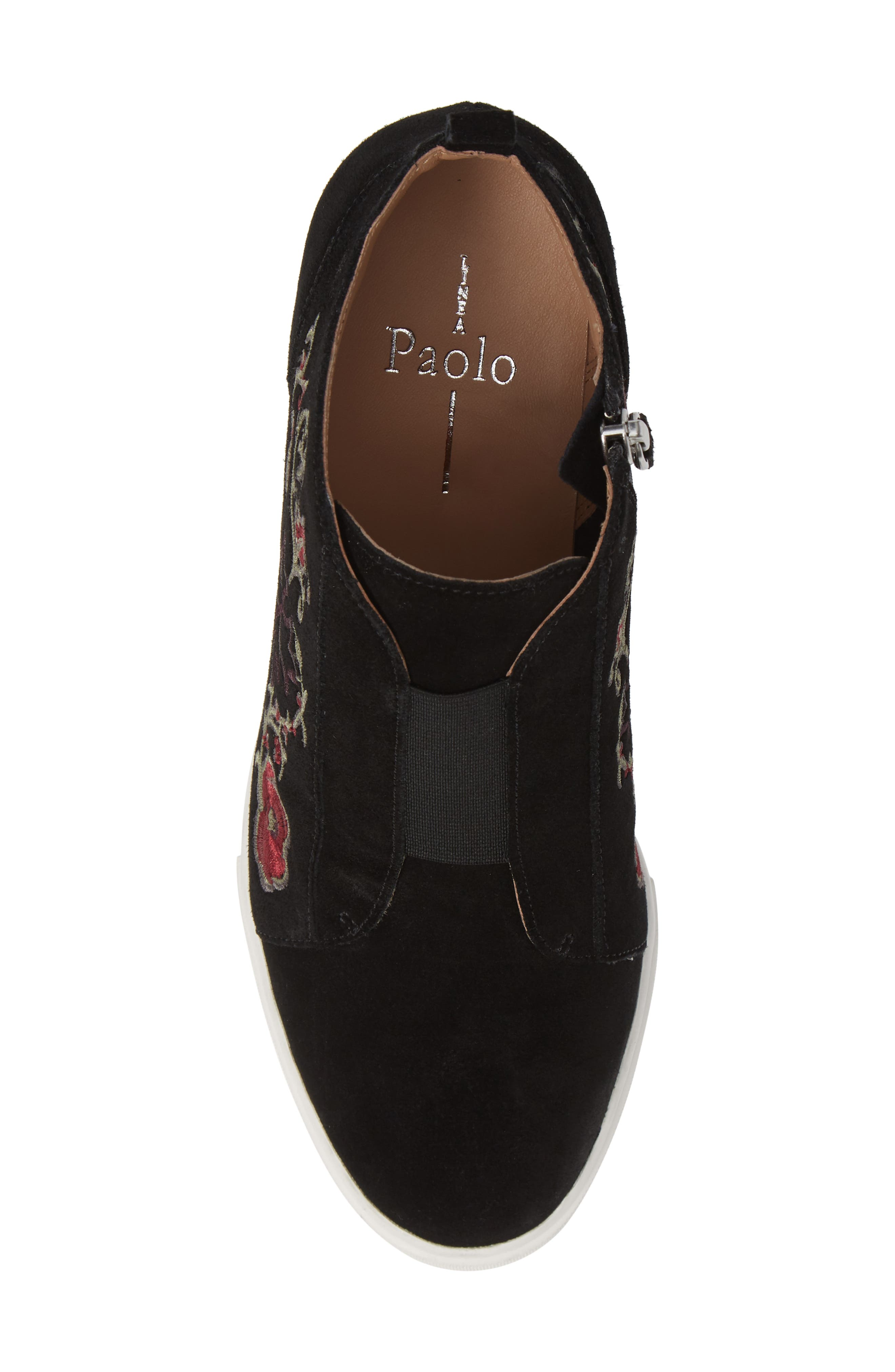 LINEA PAOLO, Felicia II Wedge Bootie, Alternate thumbnail 5, color, BLACK/ BLACK EMBROIDERY SUEDE