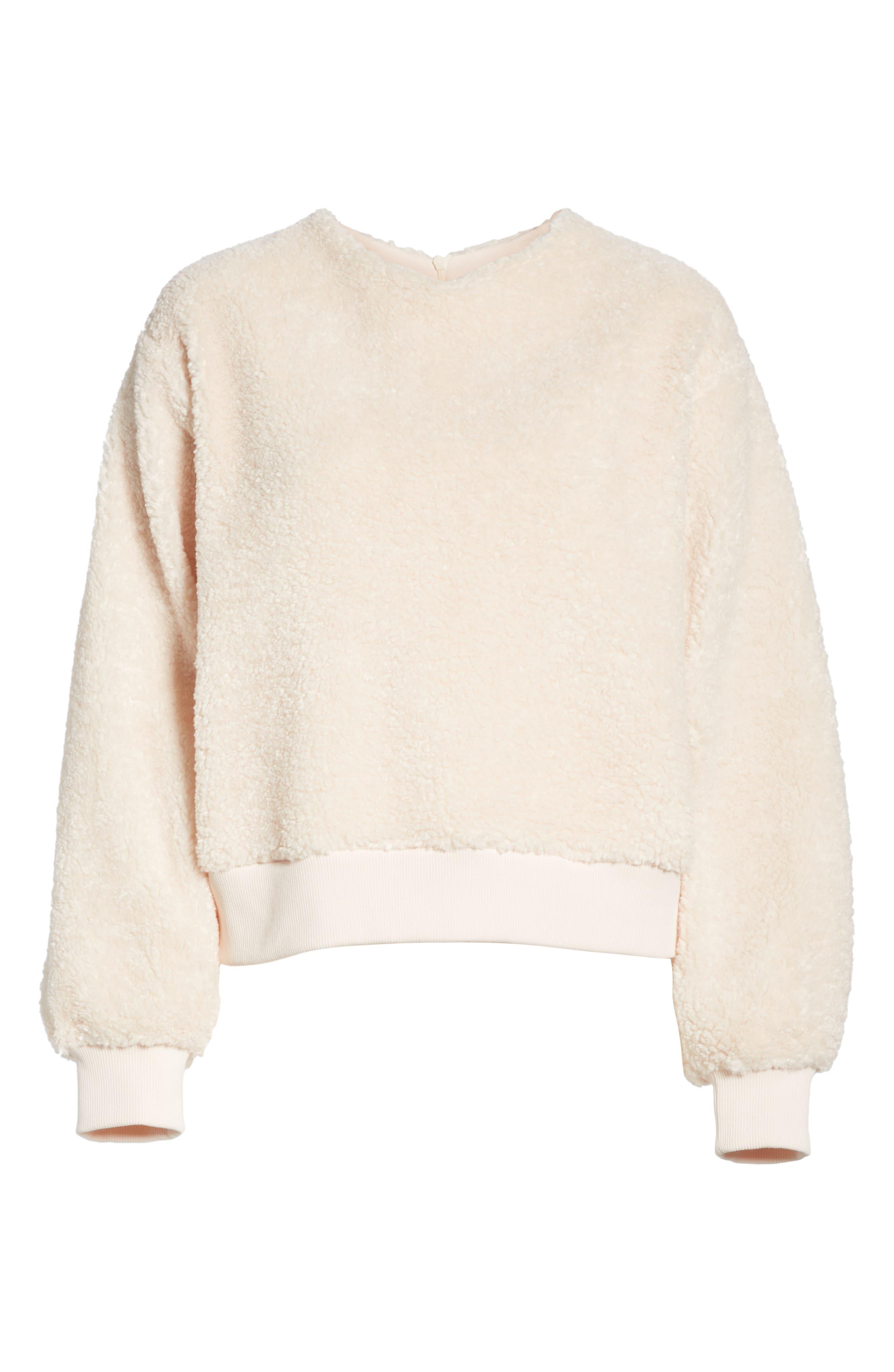 VINCE, Cozy Fleece Pullover, Alternate thumbnail 6, color, SOFT PINK