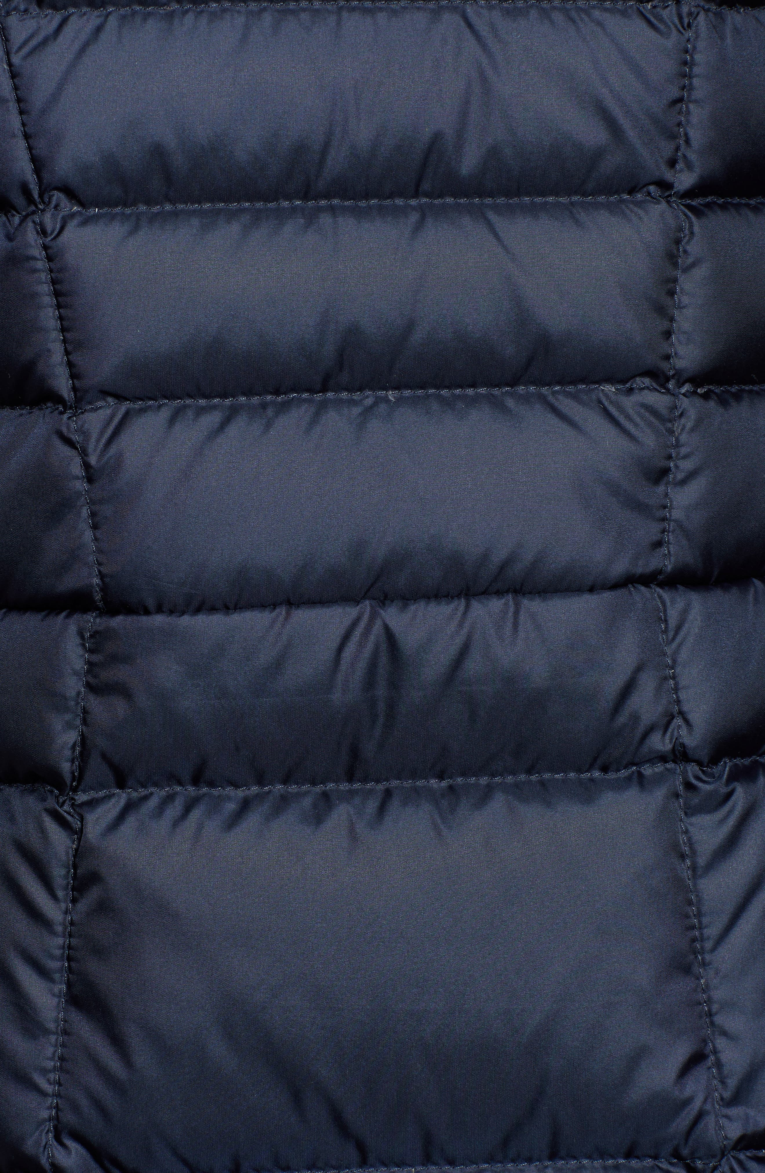 THE NORTH FACE, Metropolis II Hooded Water Resistant Down Parka, Alternate thumbnail 7, color, URBAN NAVY/ MULTI TOPO PRINT