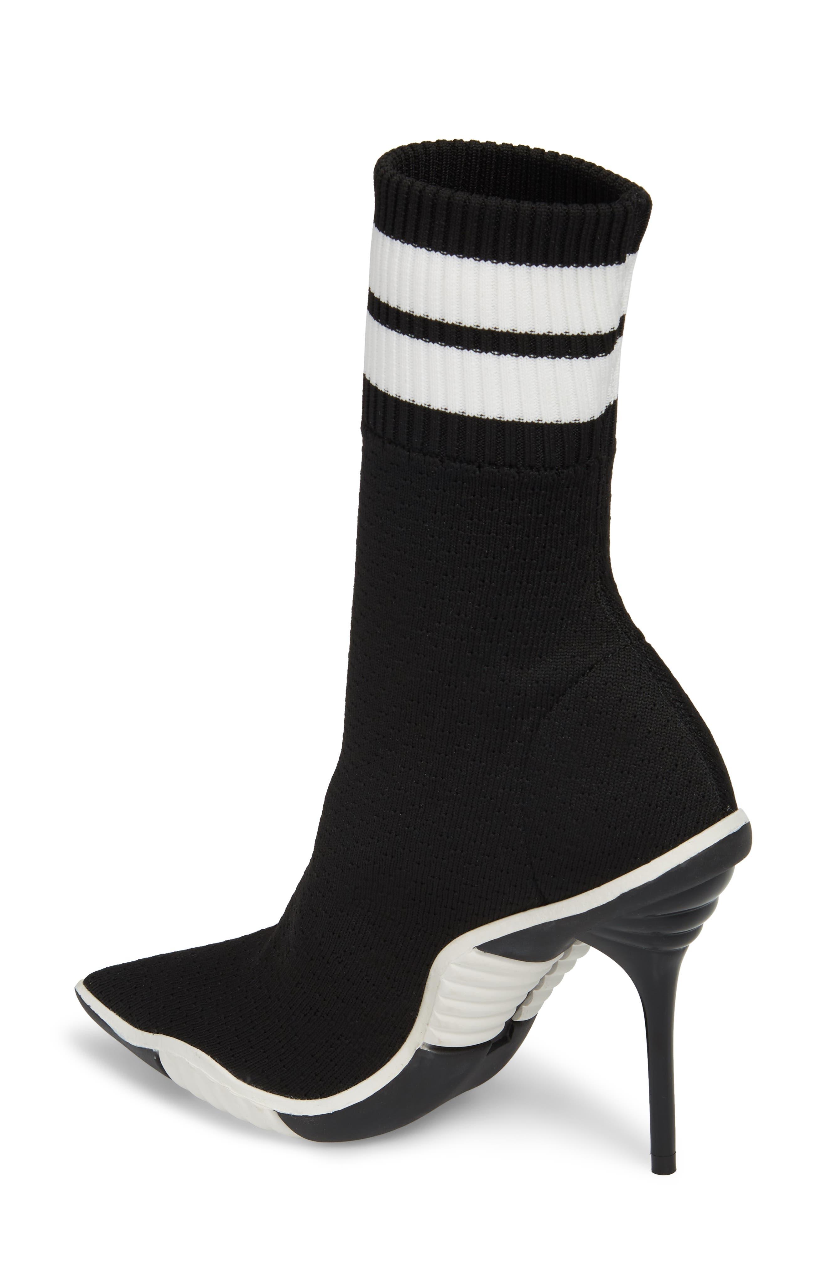 JEFFREY CAMPBELL, Goal Sock Sneaker Bootie, Alternate thumbnail 2, color, BLACK/ WHITE FABRIC