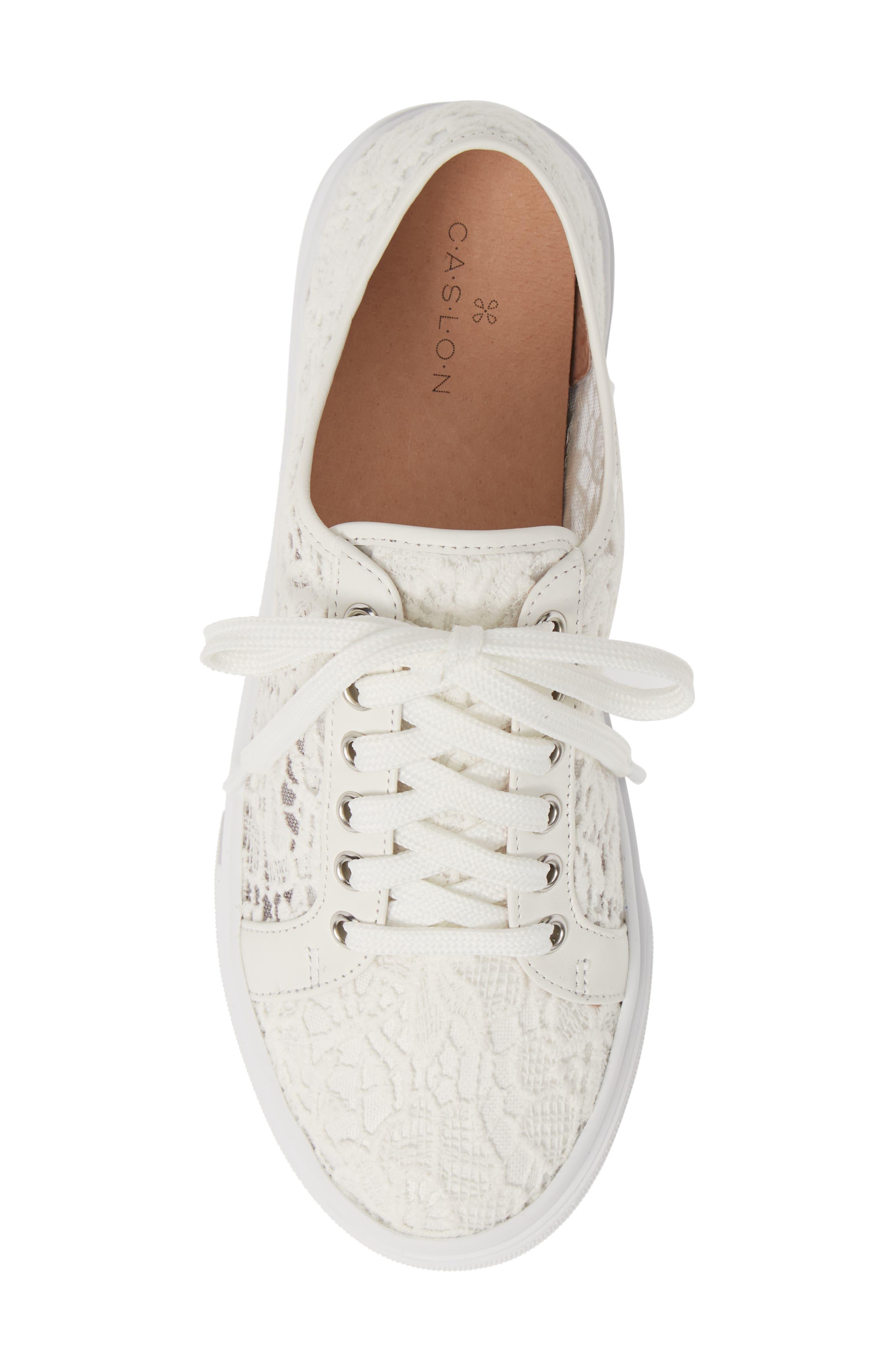 CASLON<SUP>®</SUP>, Payton Lace Sneaker, Alternate thumbnail 5, color, WHITE CROCHET