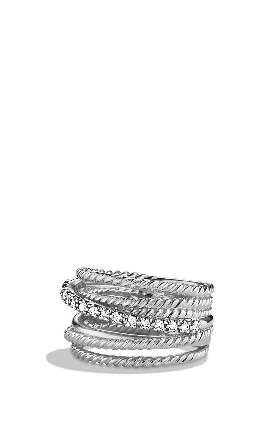 DAVID YURMAN, 'Crossover' Wide Ring with Diamonds, Main thumbnail 1, color, DIAMOND