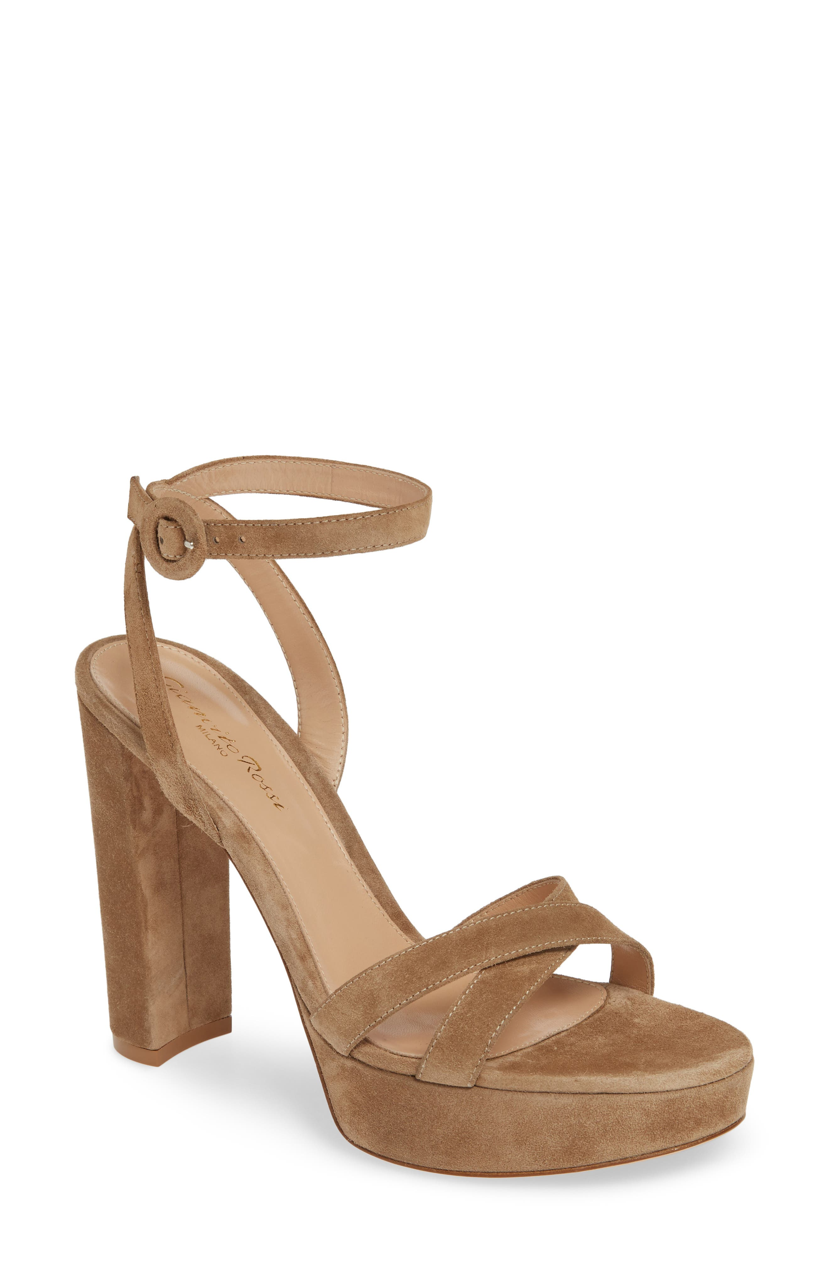 GIANVITO ROSSI, Ankle Strap Platform Sandal, Main thumbnail 1, color, CAMEL SUEDE