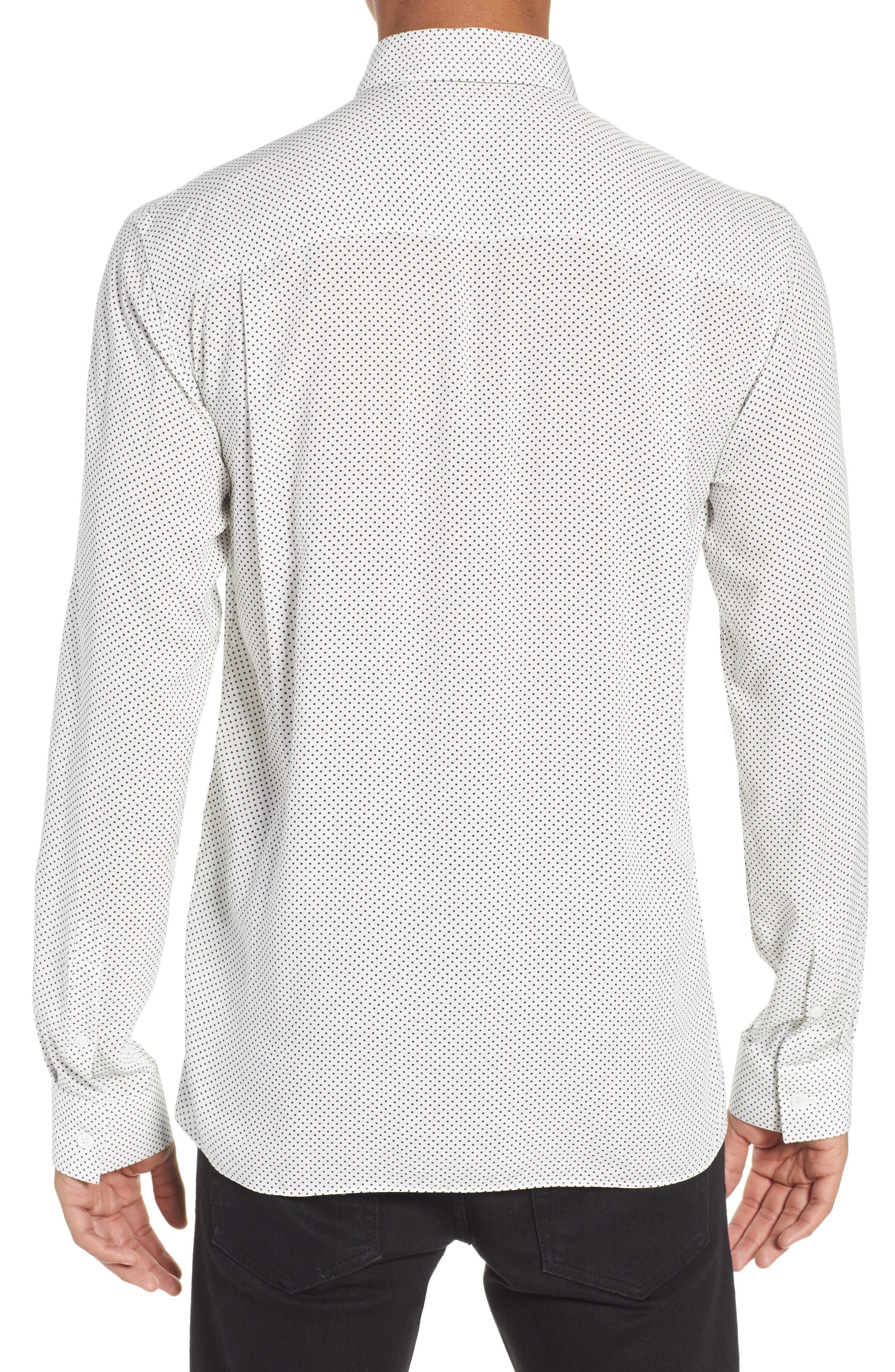 THE KOOPLES, Dot Print Sport Shirt, Alternate thumbnail 3, color, BEIGE-BLACK