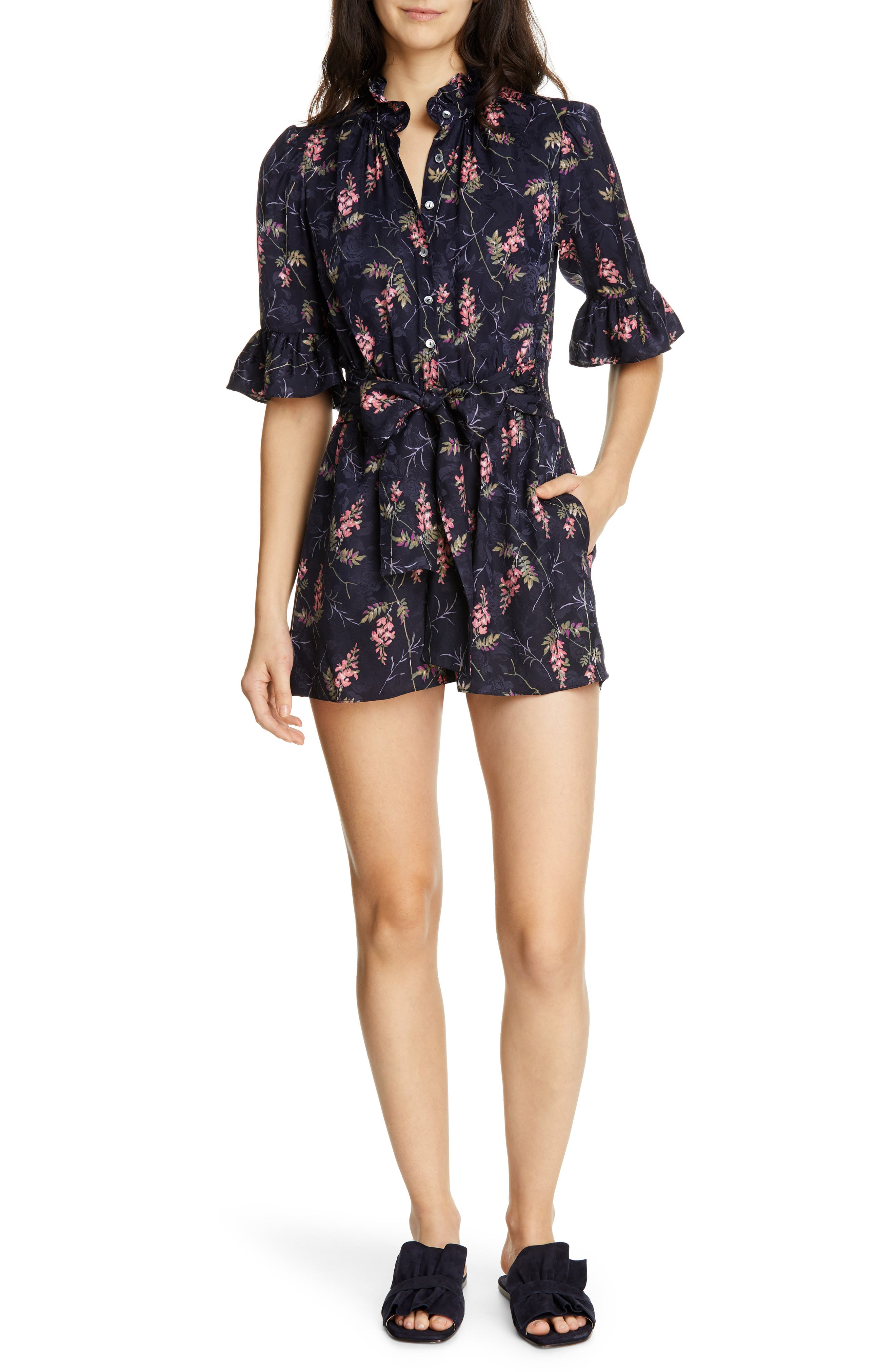 REBECCA TAYLOR, Ivie Floral Silk Blend Romper, Main thumbnail 1, color, NAVY COMBO