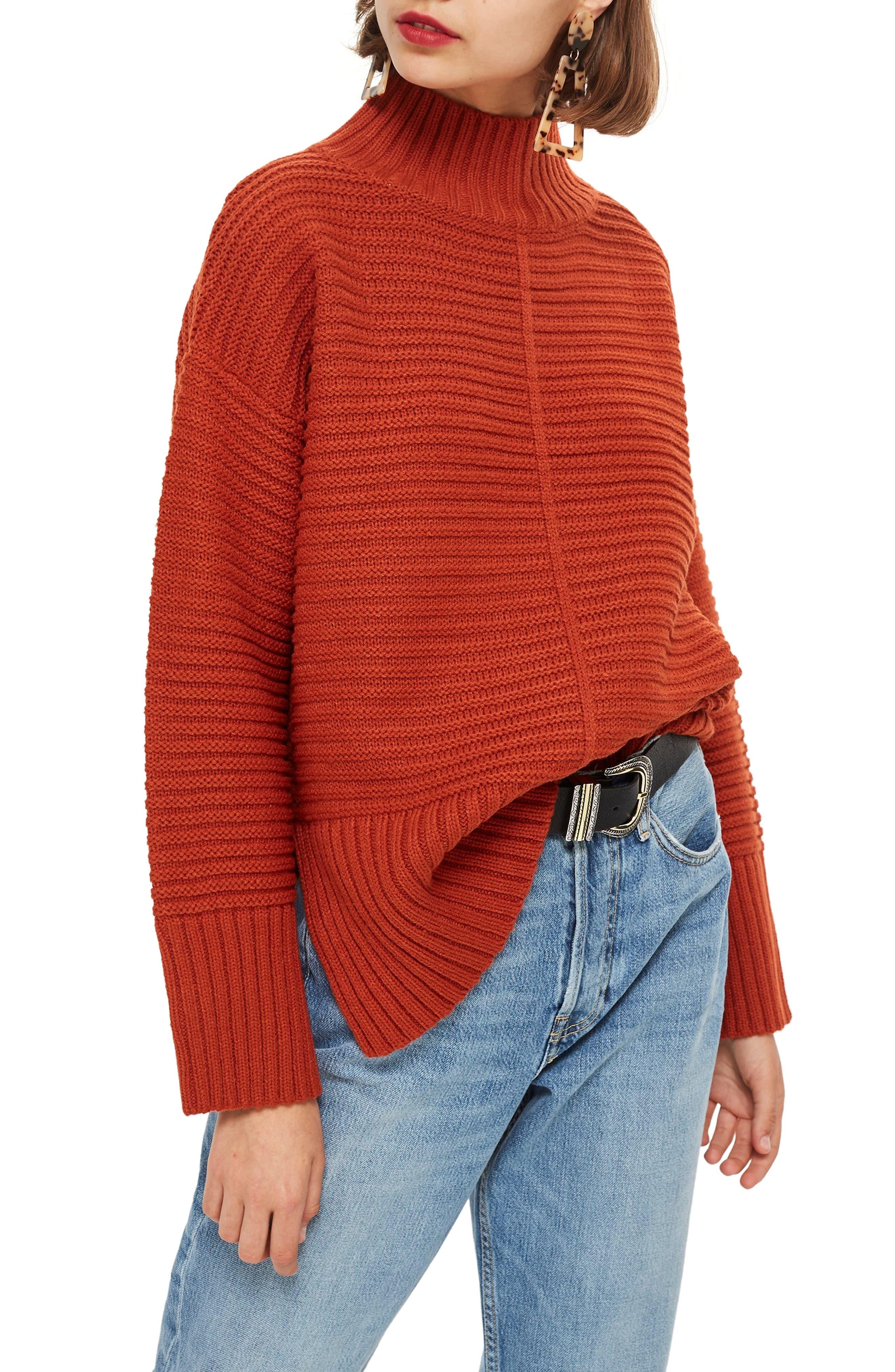 TOPSHOP, Mock Neck Sweater, Main thumbnail 1, color, RUST