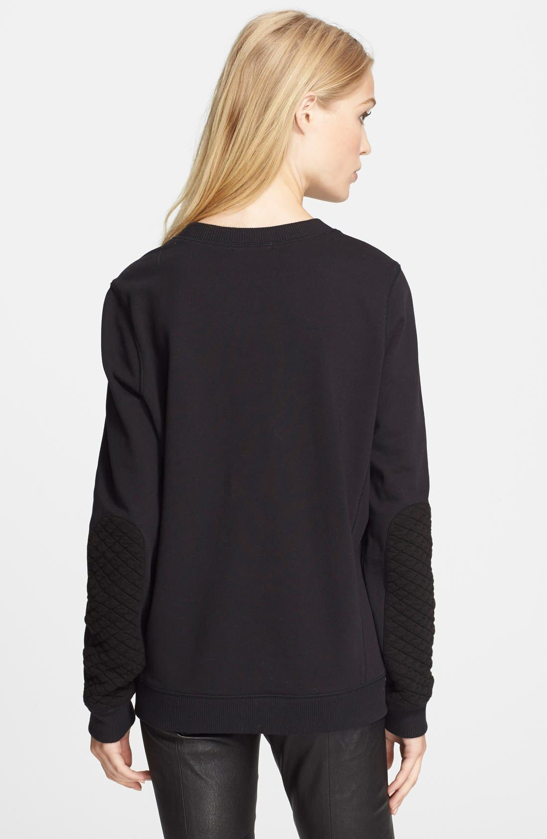 VINCE, Quilted Detail Sweatshirt, Alternate thumbnail 2, color, 001