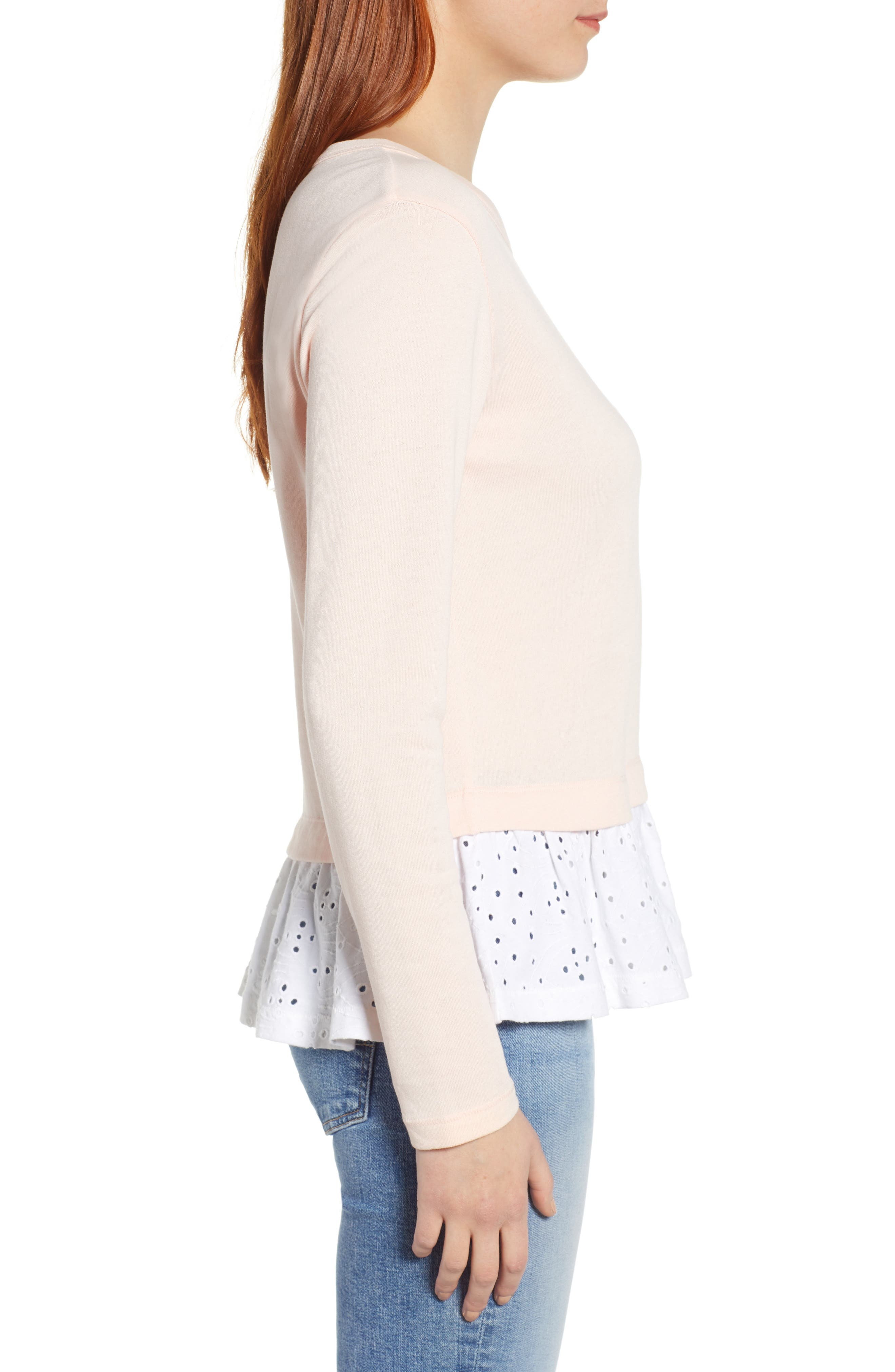 CASLON<SUP>®</SUP>, Eyelet Peplum Sweatshirt, Alternate thumbnail 3, color, PINK- WHITE